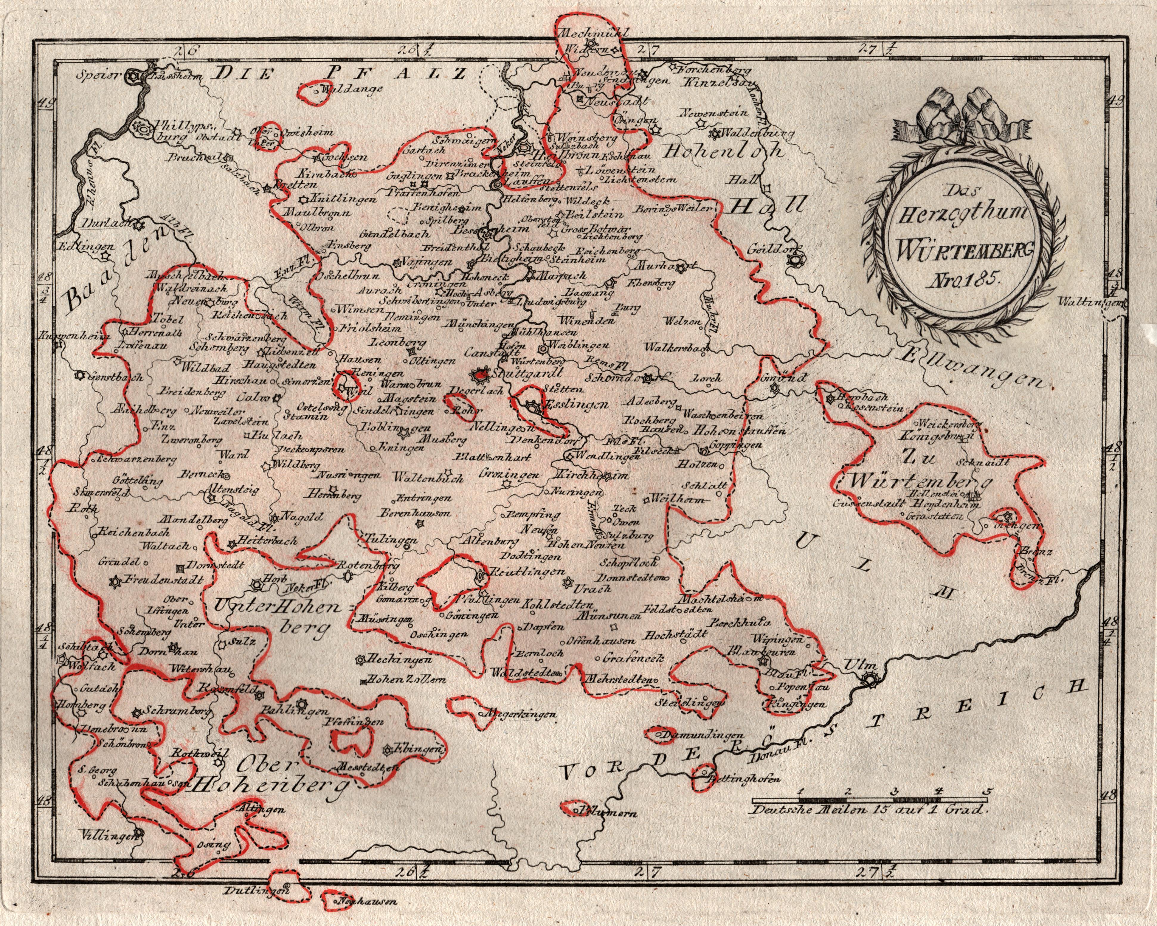 """Kst.- Karte, b. Reilly, """"Das Herzogthum Würtemberg"""".: Württemberg ( Herzogtum"""