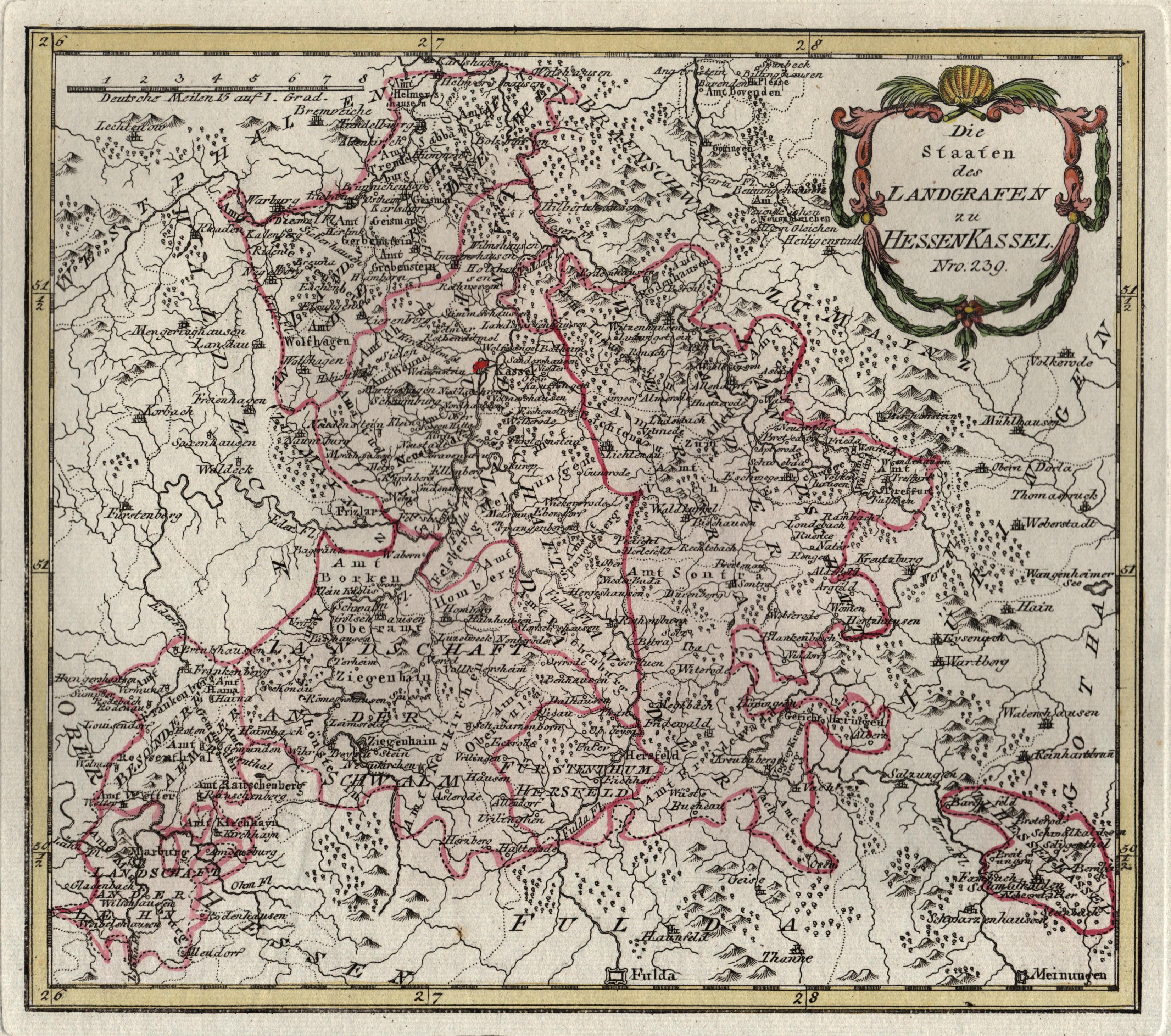 """Kst.- Karte, b. Reilly, """"Die Staaten des: Nordhessen:"""