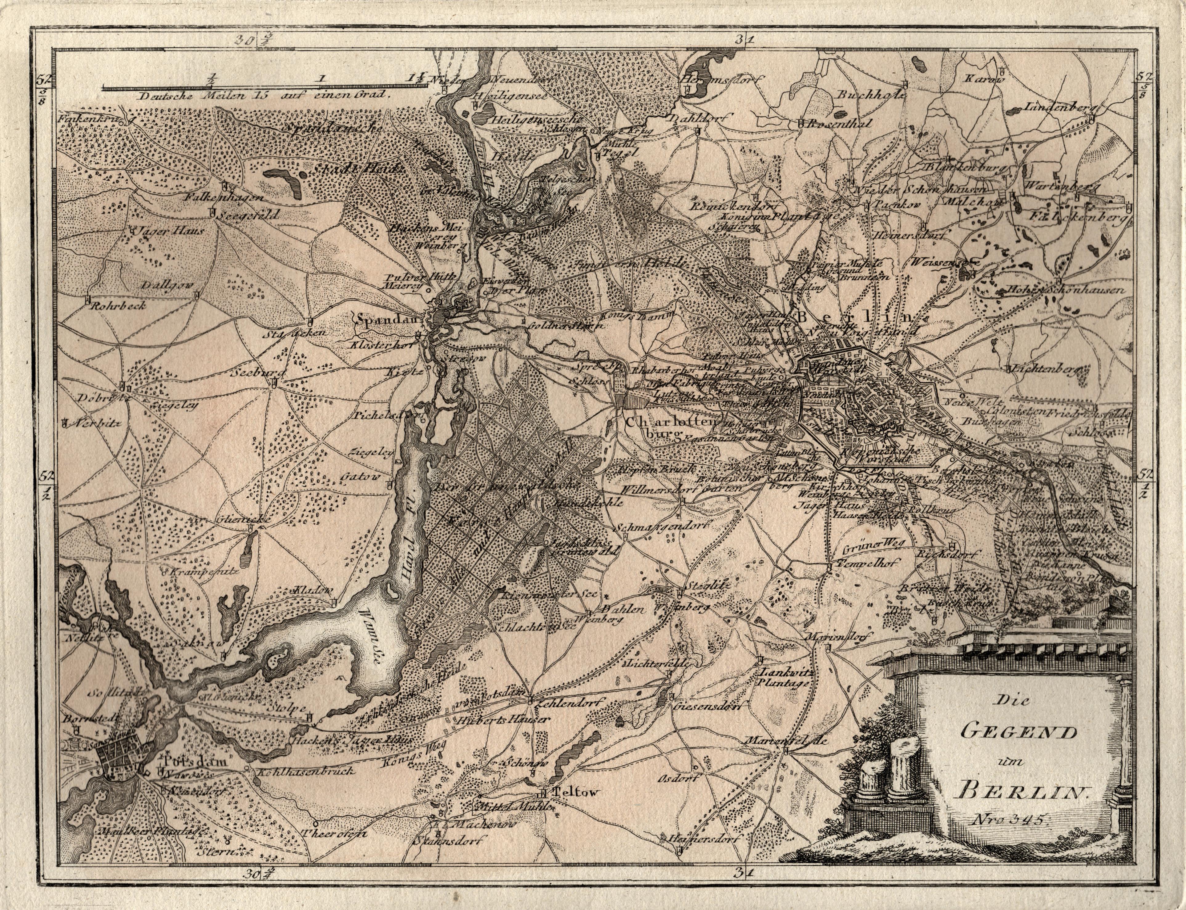 Die Gegend um Berlin. Nro. 345.: Berlin - Umgebungskarte: