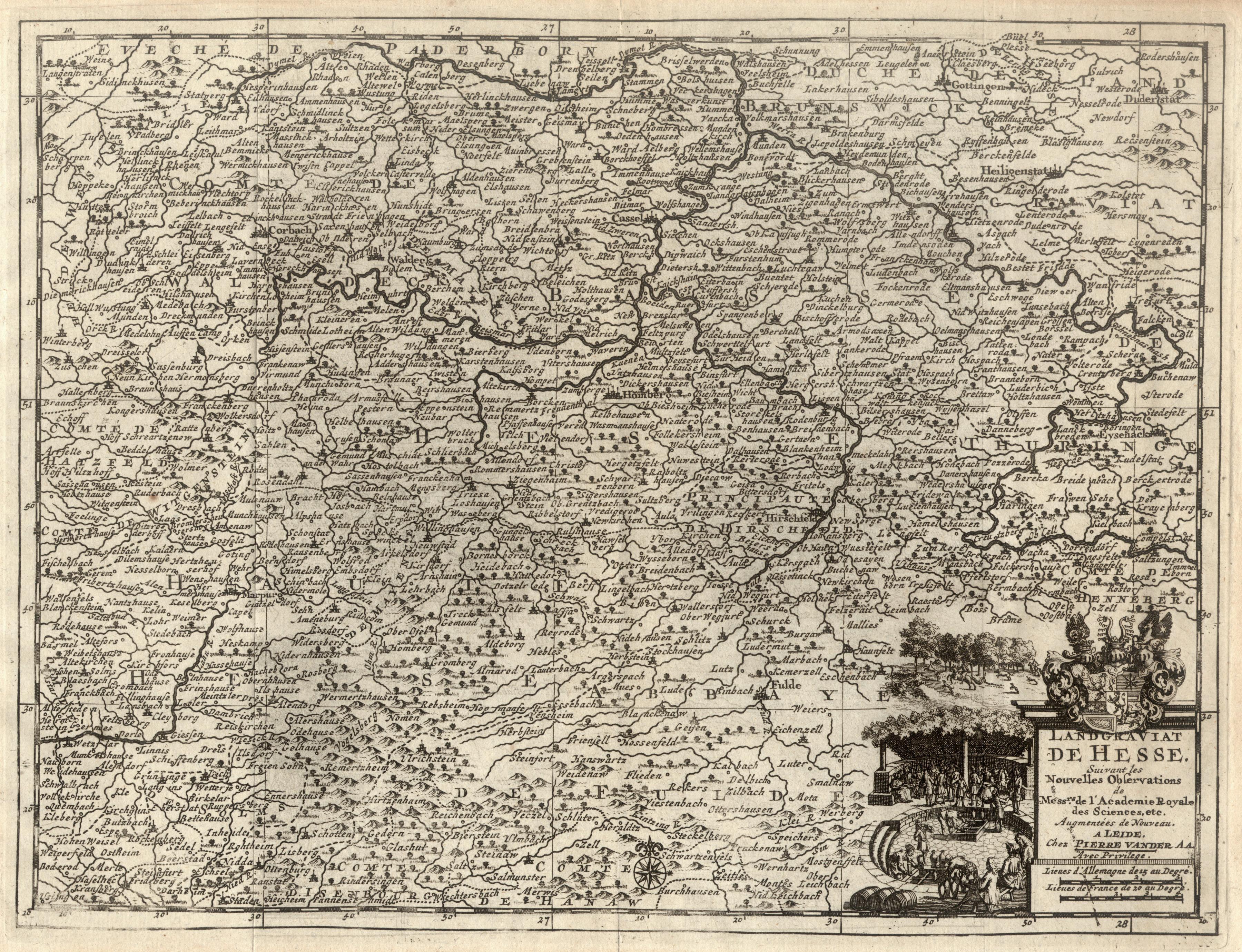 Kst.- Karte, b. Pierre van der Aa,: Nordhessen: