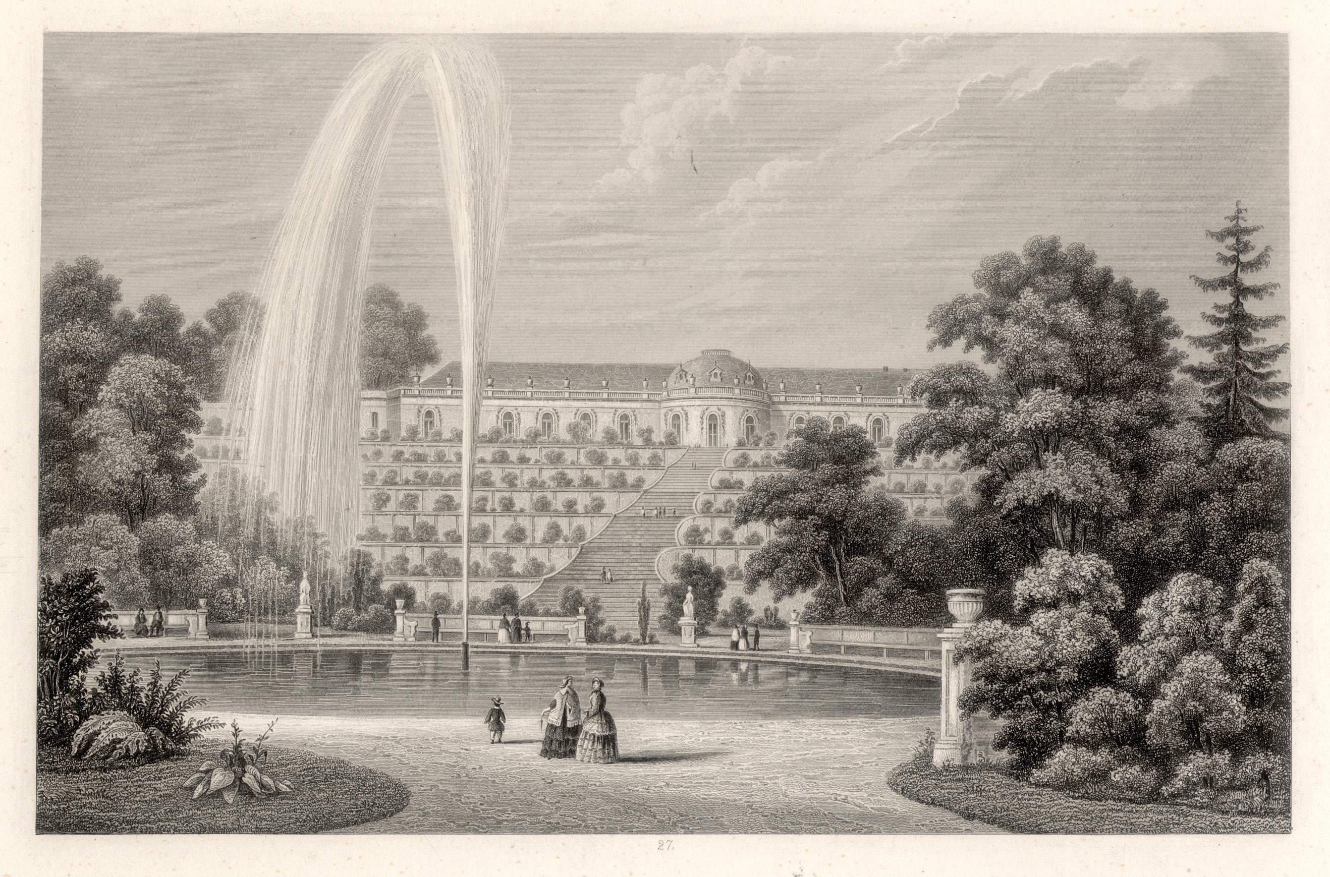 Ansicht mit den Terrassen, i. Vgr. die: Potsdam - Schloss