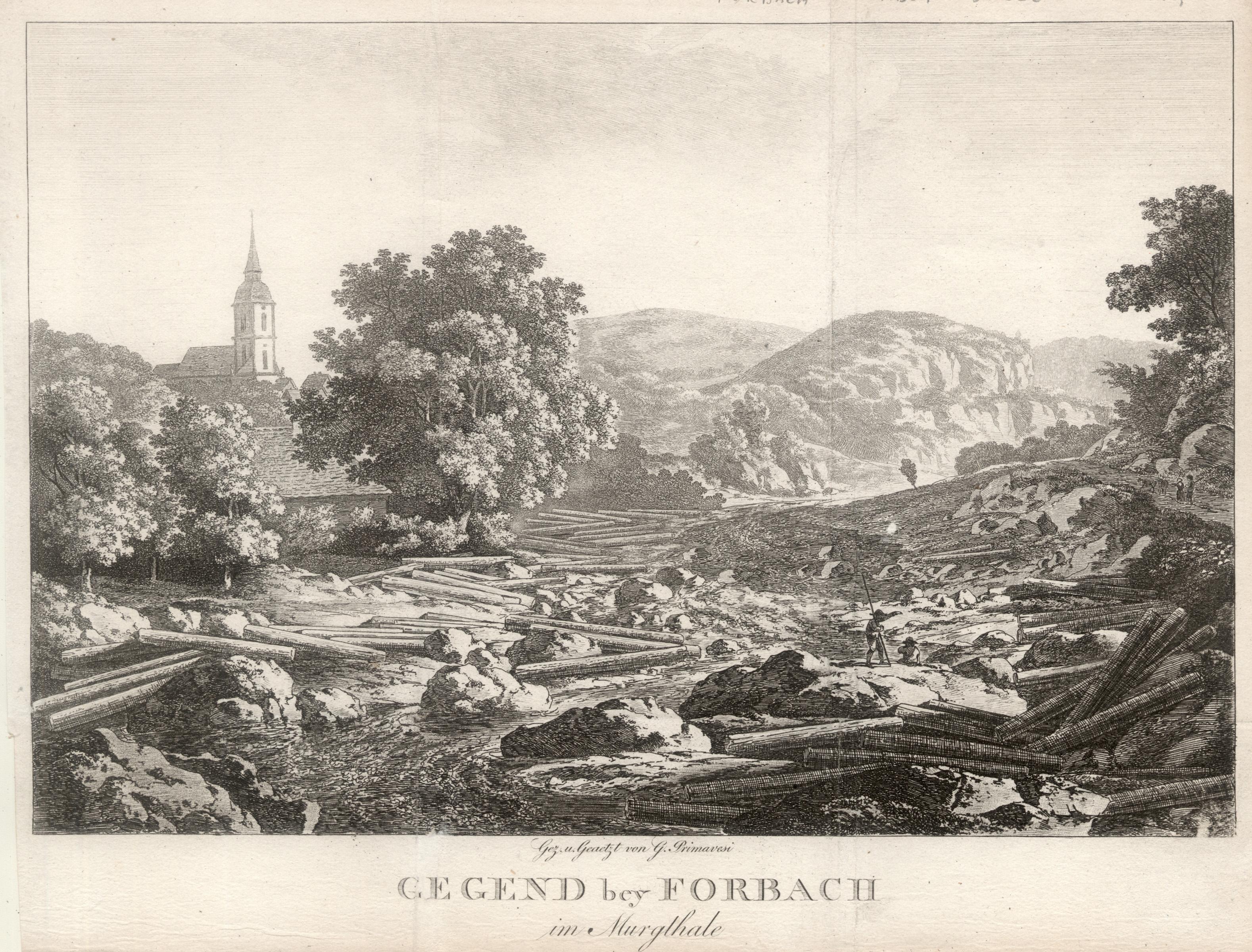 "Ansicht m. Kirche, ""Gegend bey Forbach im: Forbach/Murgtal:"