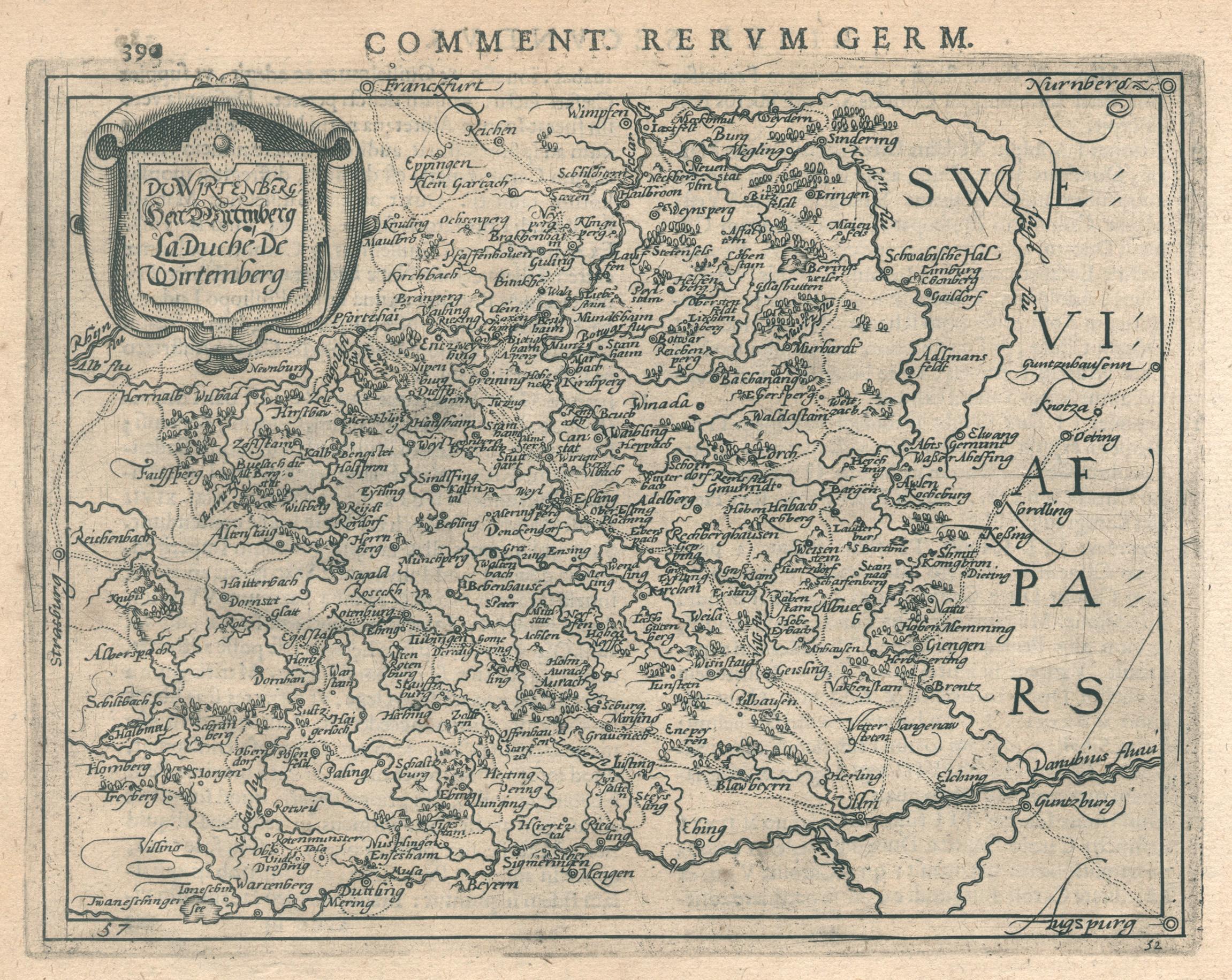 "Kst.- Karte, b. Bertius n. Metellus, ""De: Württemberg ( Herzogtum"