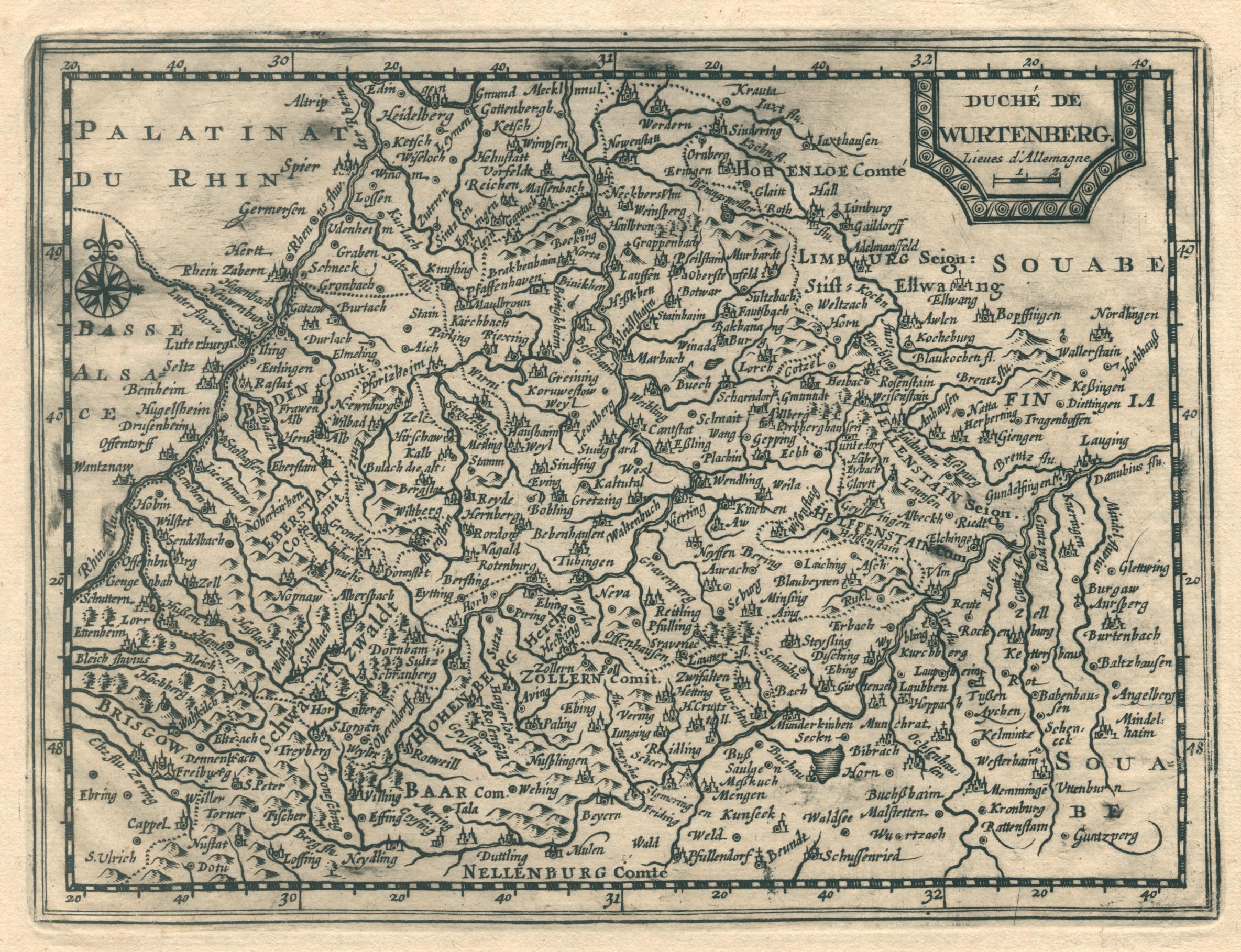 Kst.- Karte, v. Pieter van der Aa,: Württemberg ( Herzogtum
