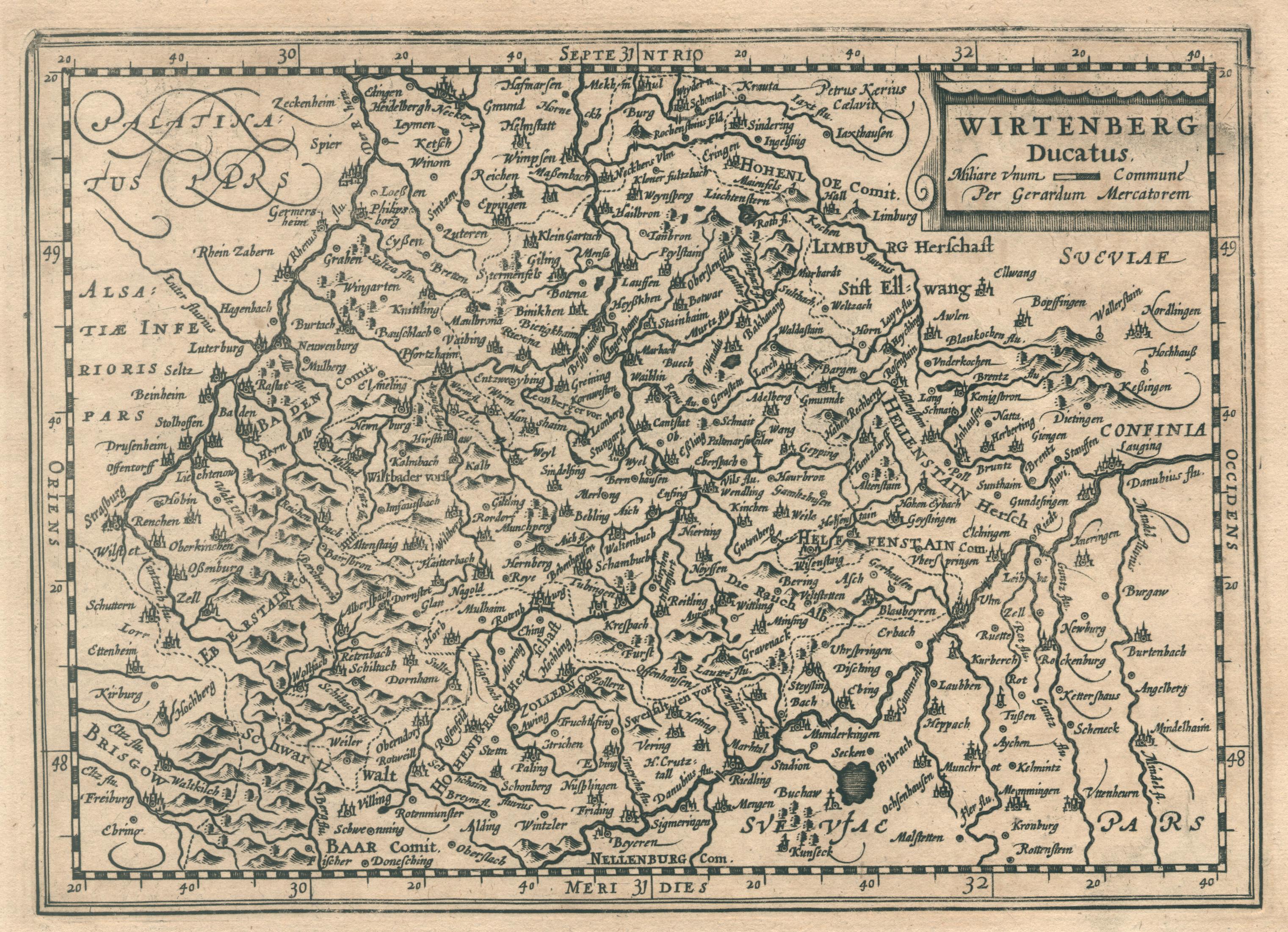 Kst.- Karte, n. G. Mercator b. Jans.-: Württemberg ( Herzogtum