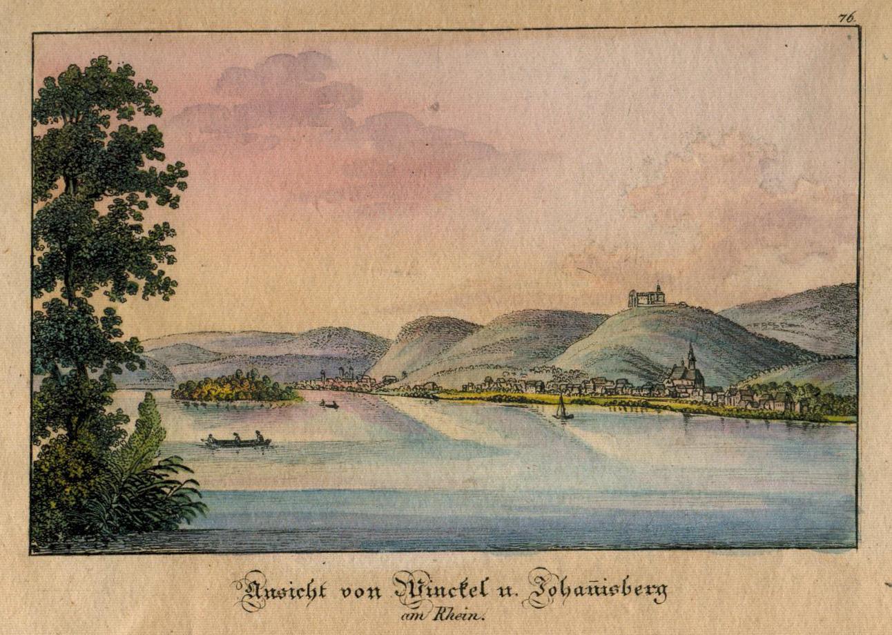 """Gesamtans., """"Ansicht von Winkel und Johannesberg am: Oestrich - Winkel:"""