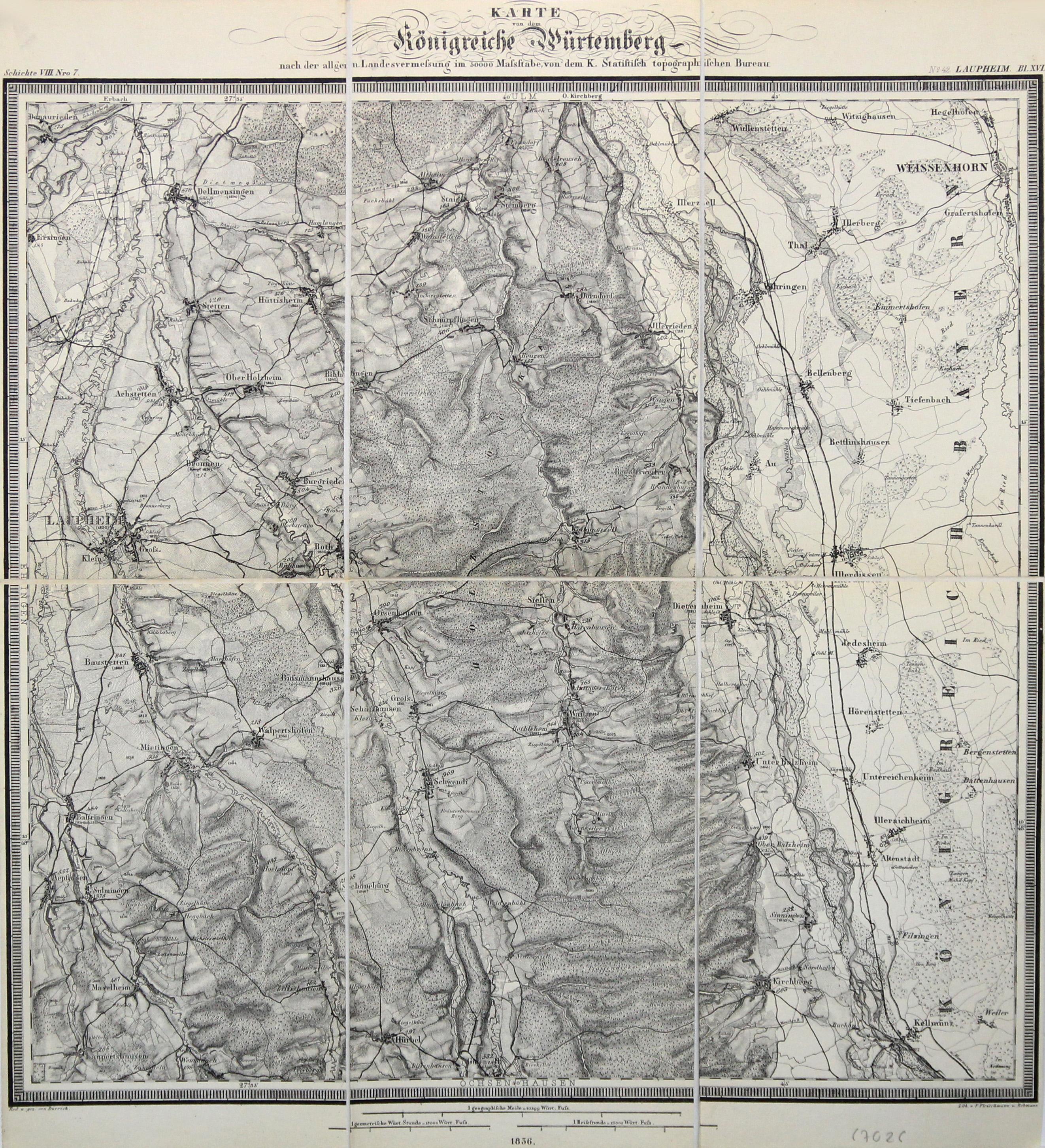 Litho.- Karte, n. Fleischmann u. Rebmann n.: Laupheim (Umgebung):