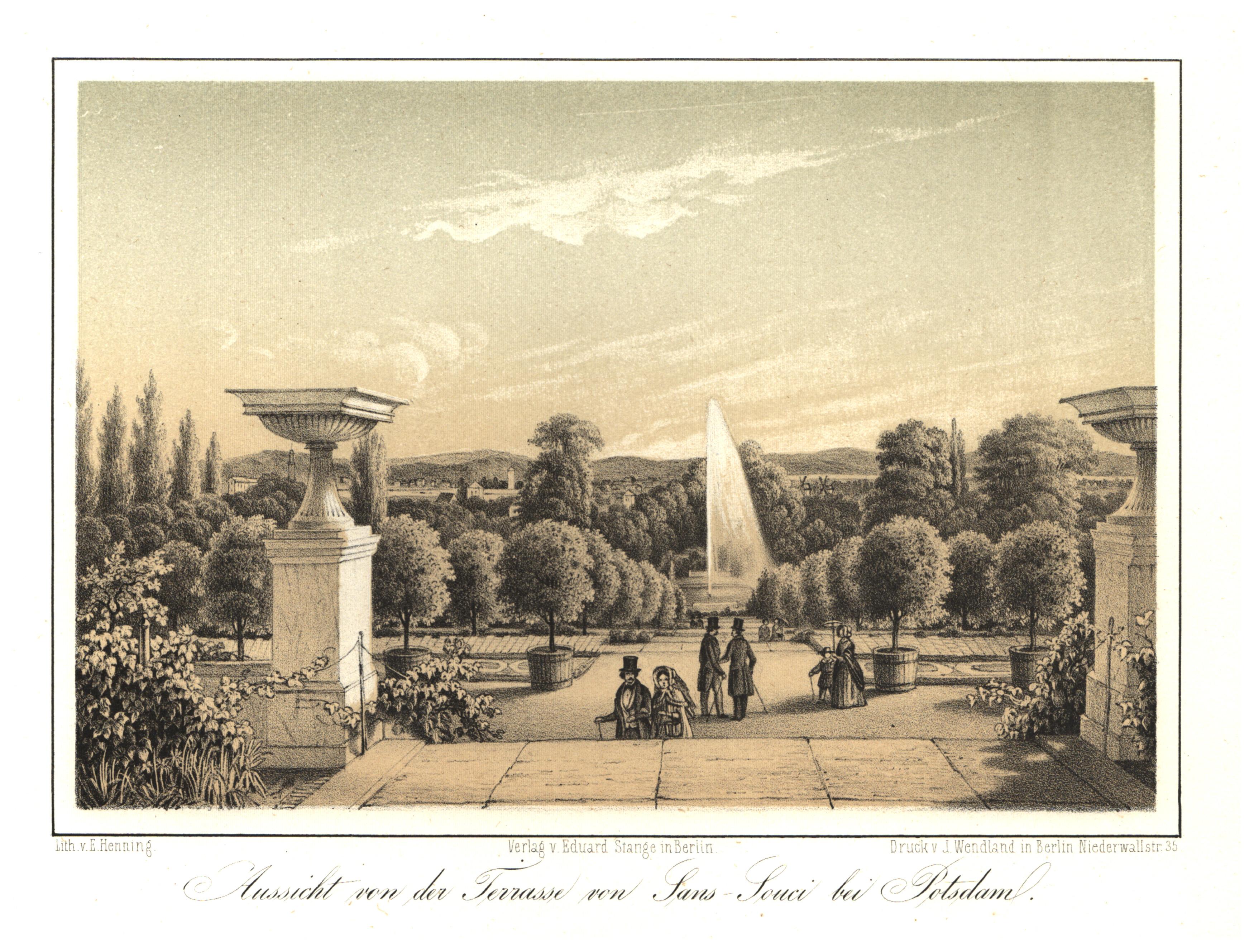 """Terrasse auf der Südseite, """"Aussicht von der: Potsdam - Schloss"""