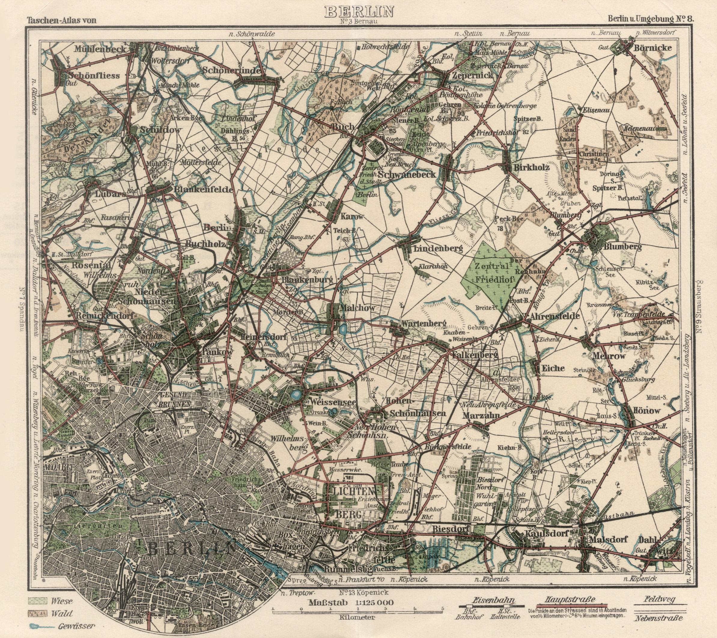 Farblitho. - Karte aus Peip s Taschenatlas,.: Berlin - Umgebungskarte:
