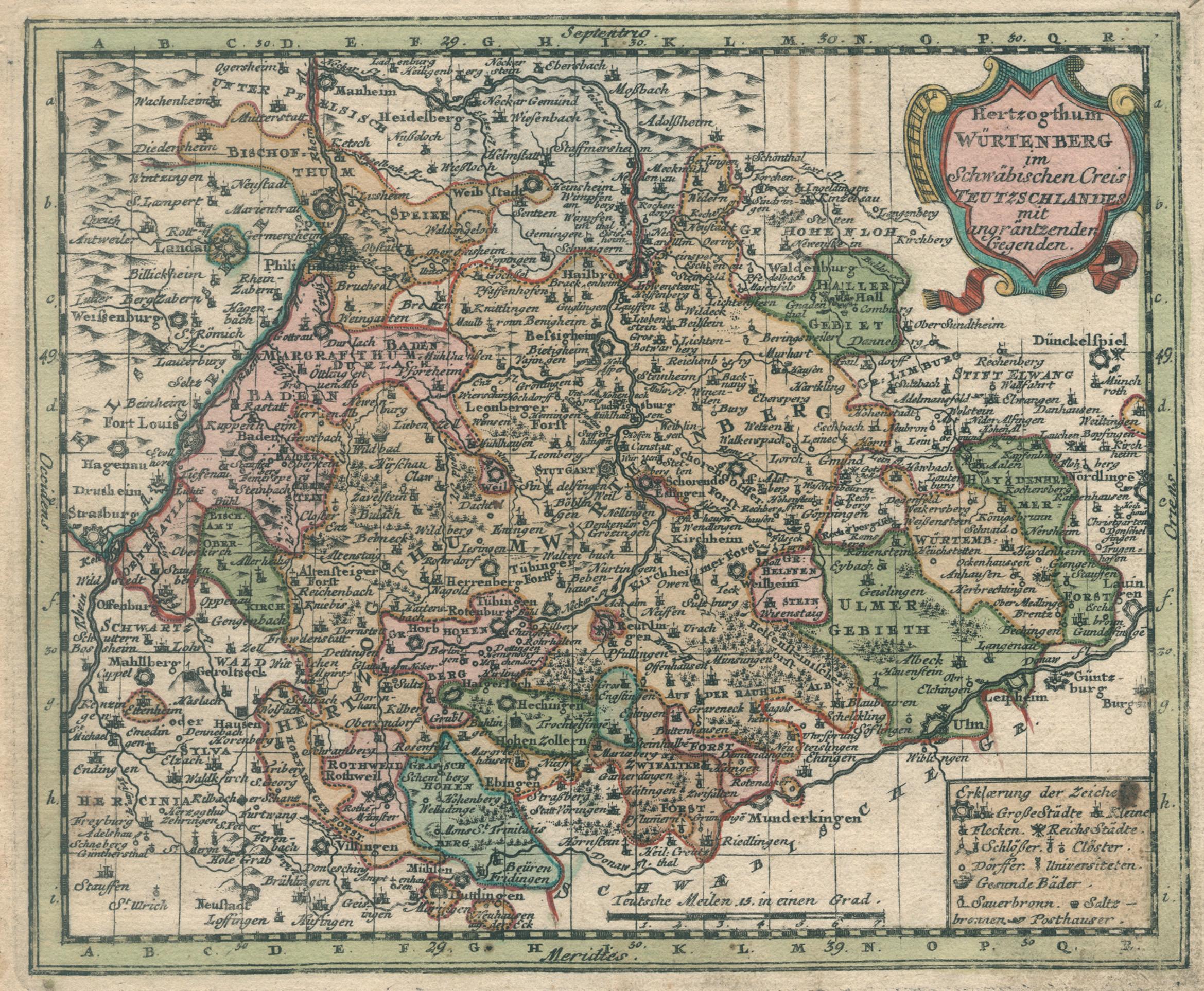 "Kst.- Karte, b. Weigel, ""Hertzogthum Würtenberg im: Württemberg ( Herzogtum"