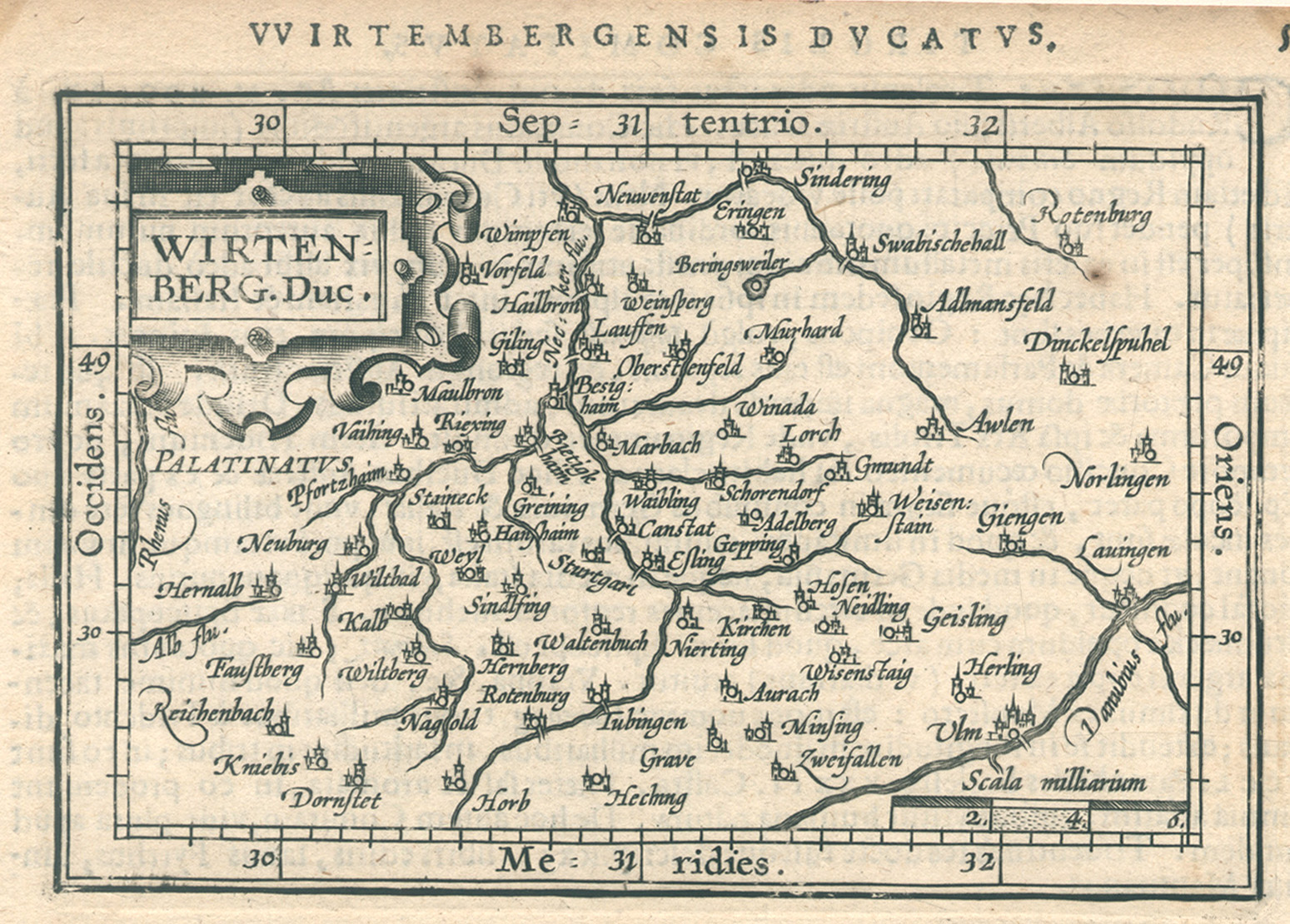 Kst.- Karte, aus Ortelius ( Epitome ),: Württemberg ( Herzogtum