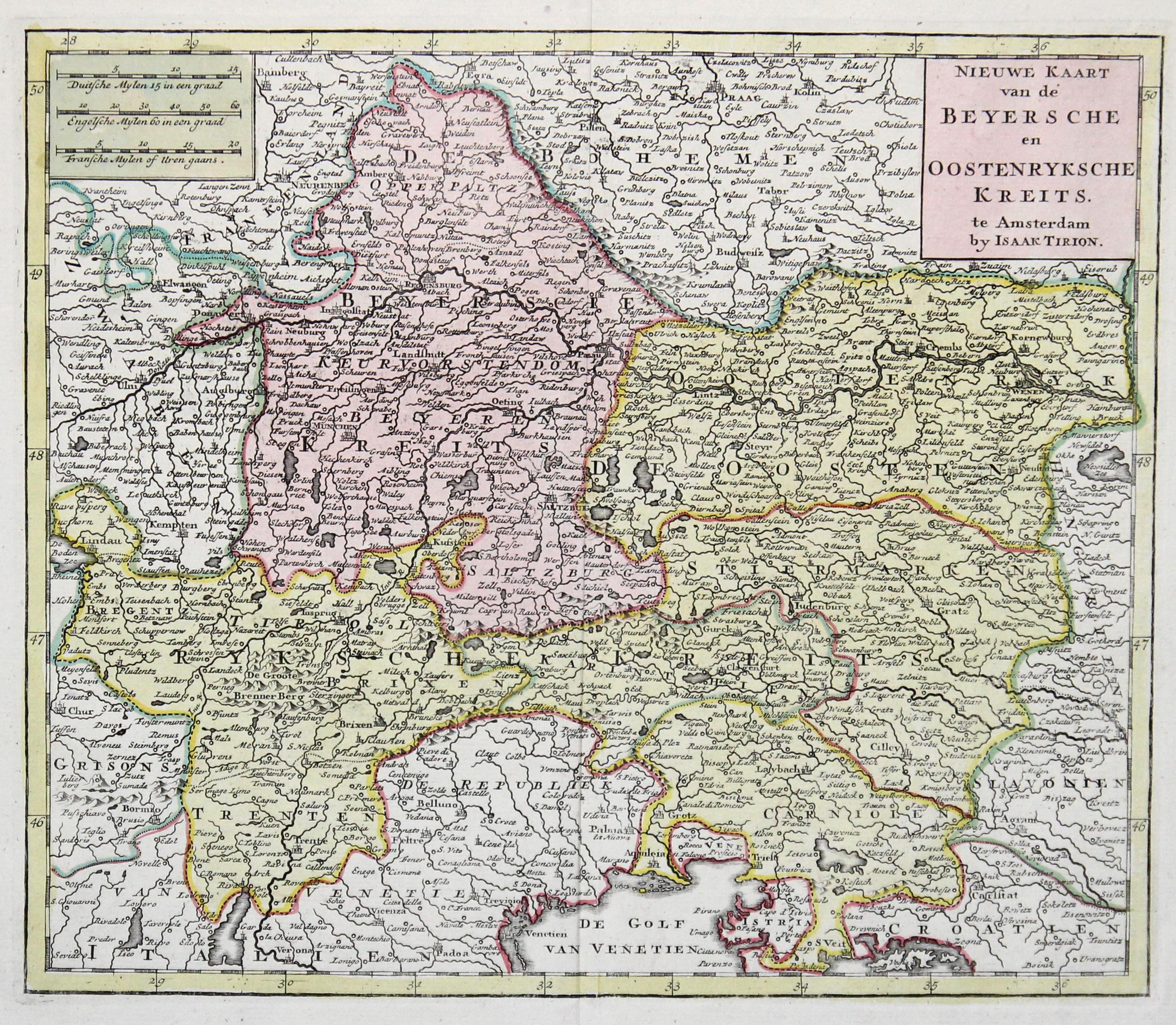 """Kst.- Karte, b. Isaak Tirion, """"Nieuwe Kaart: Bayrischer und Österreichischer"""