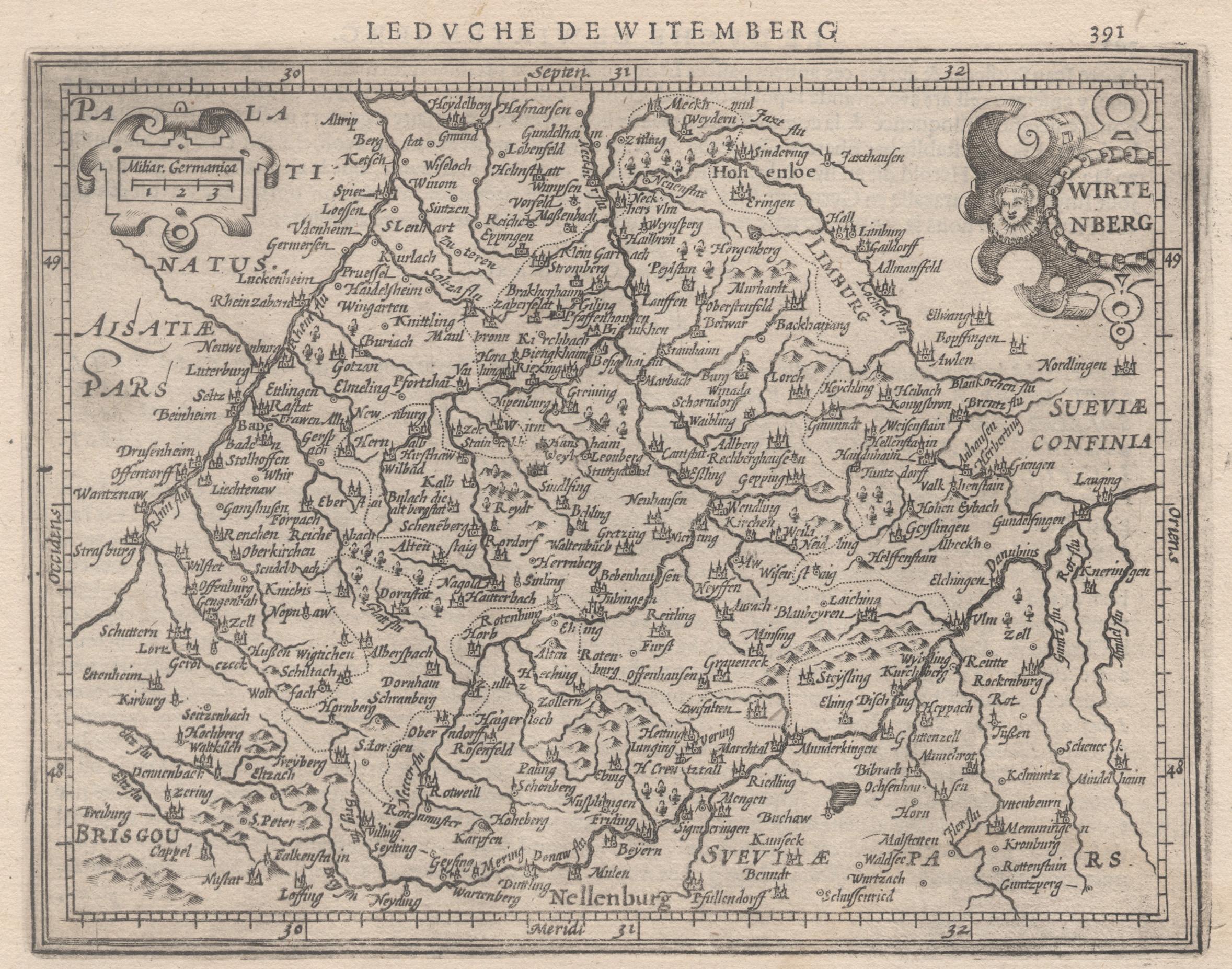 "Kst.- Karte, n. Mercator b. Hondius, ""Wirtenberg"".: Württemberg ( Herzogtum"