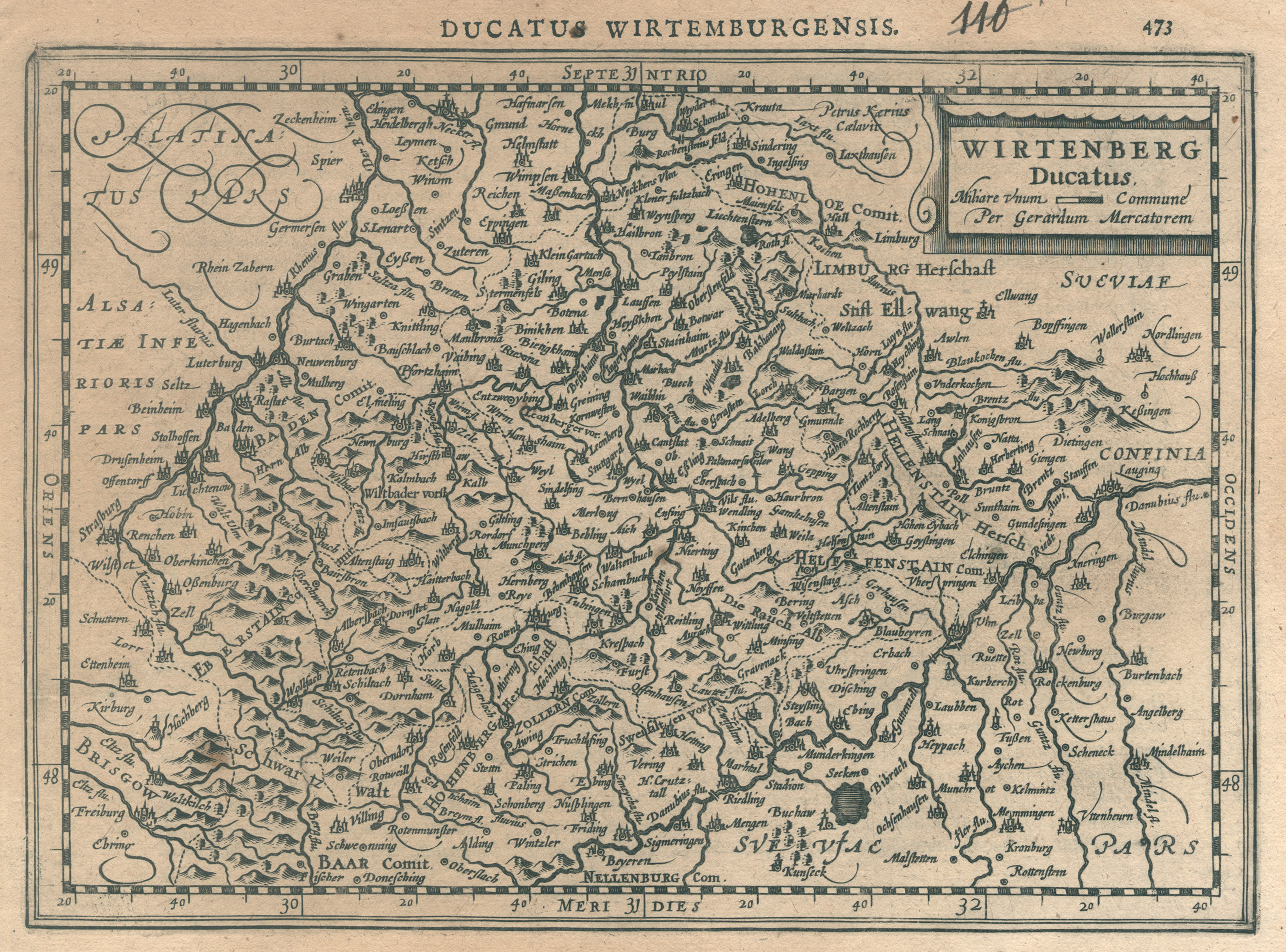 Kst.- Karte, n. G. Mercator b. Cloppenburg,: Württemberg ( Herzogtum