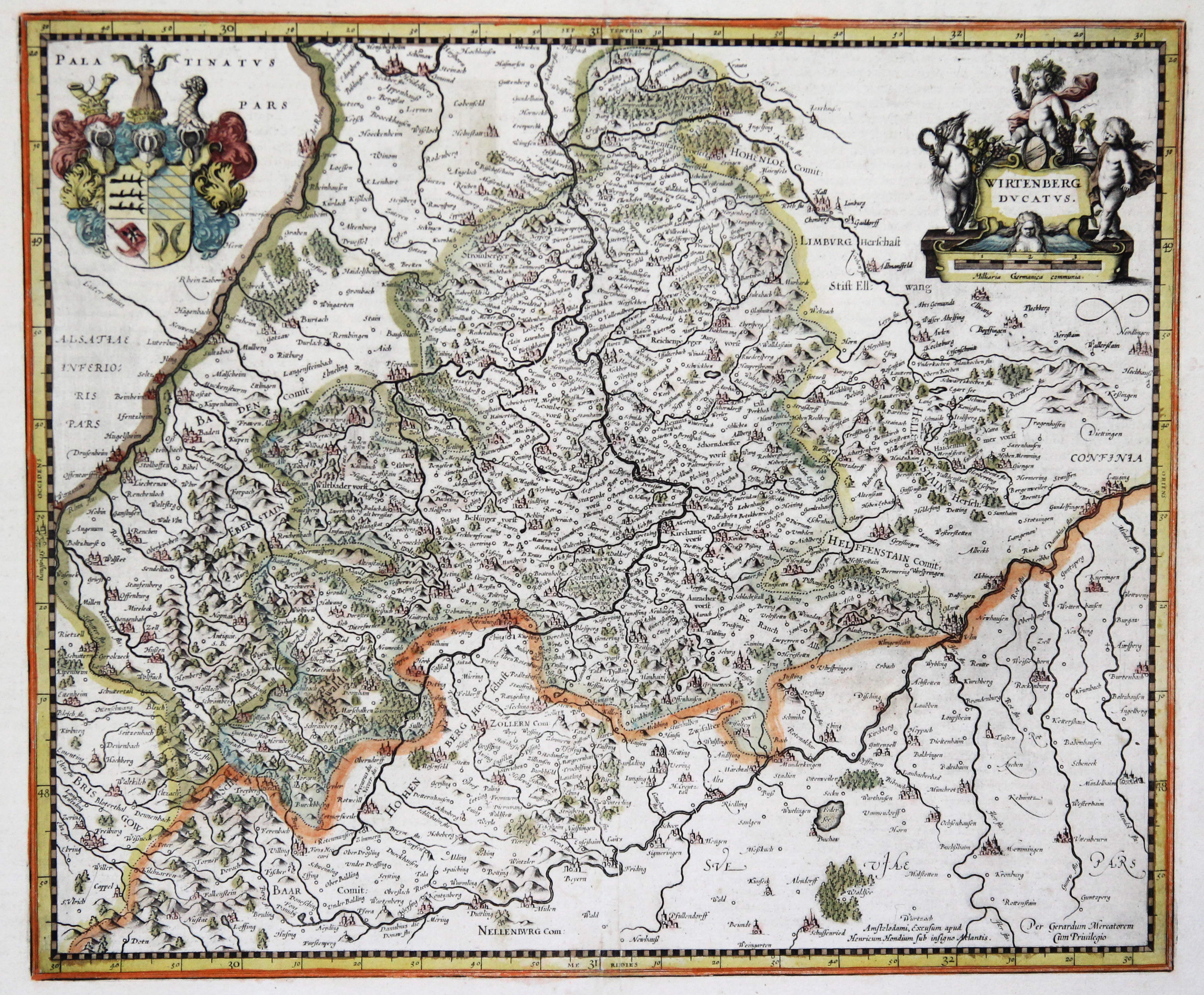 Kst.- Karte, n. Mercator und H. Hondius: Württemberg ( Herzogtum