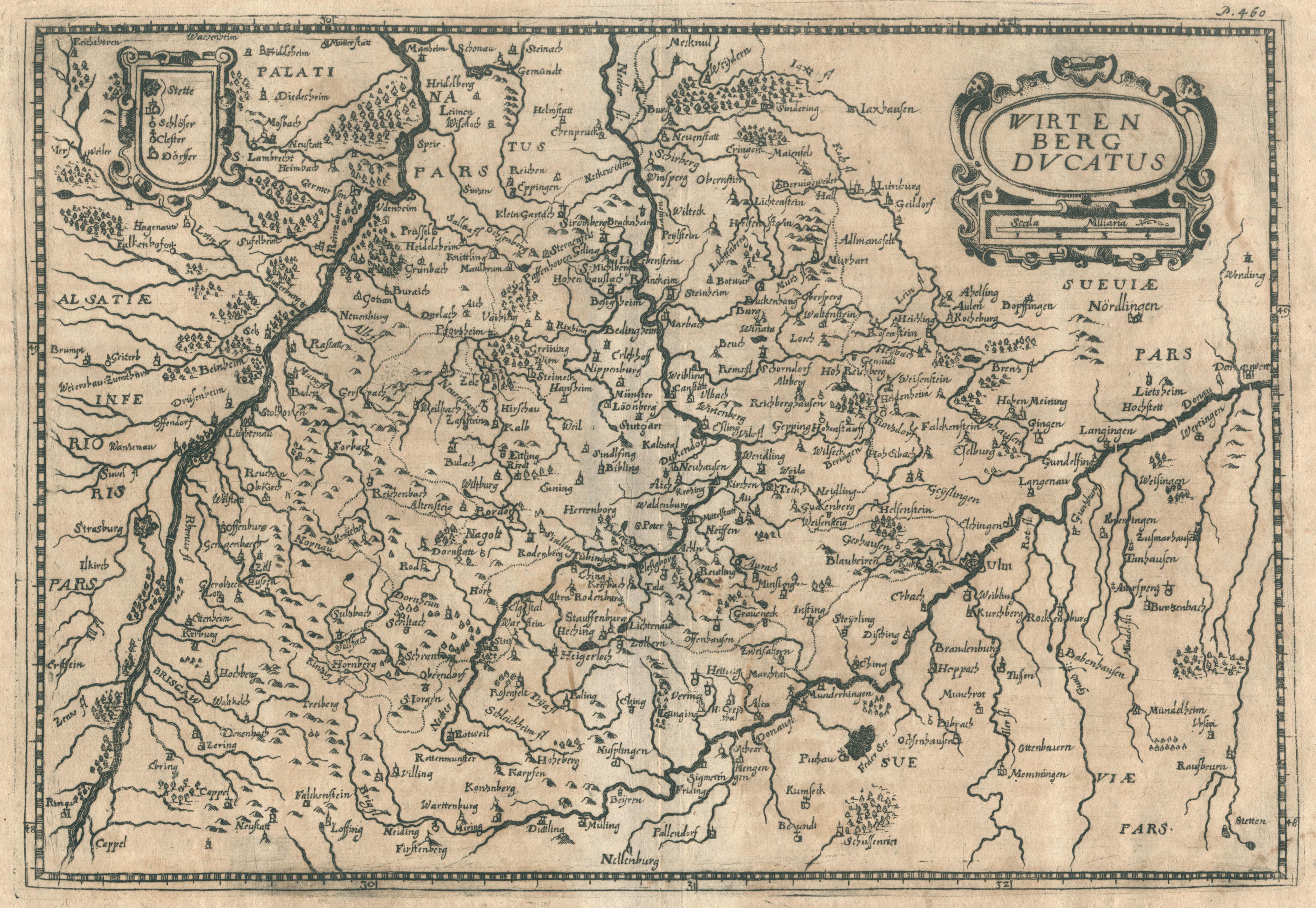 "Kst.- Karte, b. Joh. Hoffmann, ""Wirtenberg dvcatus"".: Württemberg ( Herzogtum"