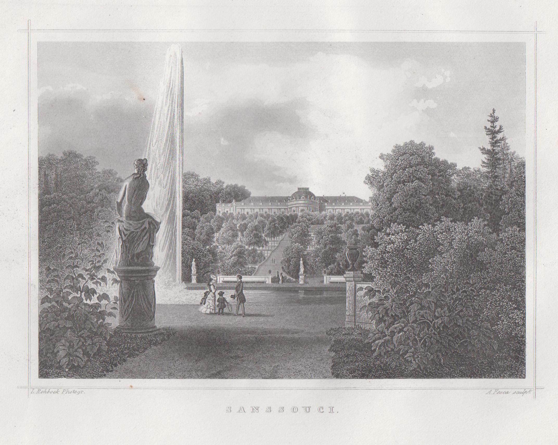 Ansicht m. d. Terrassen, i. Vgr. die: Potsdam - Schloss