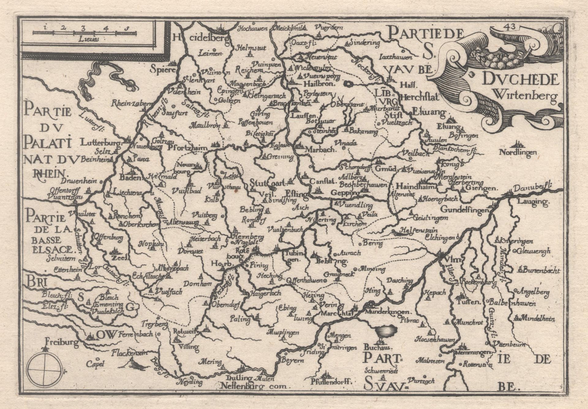 """Kst.- Karte, b. Christophe Tassin, """"Duché de: Württemberg ( Herzogtum"""