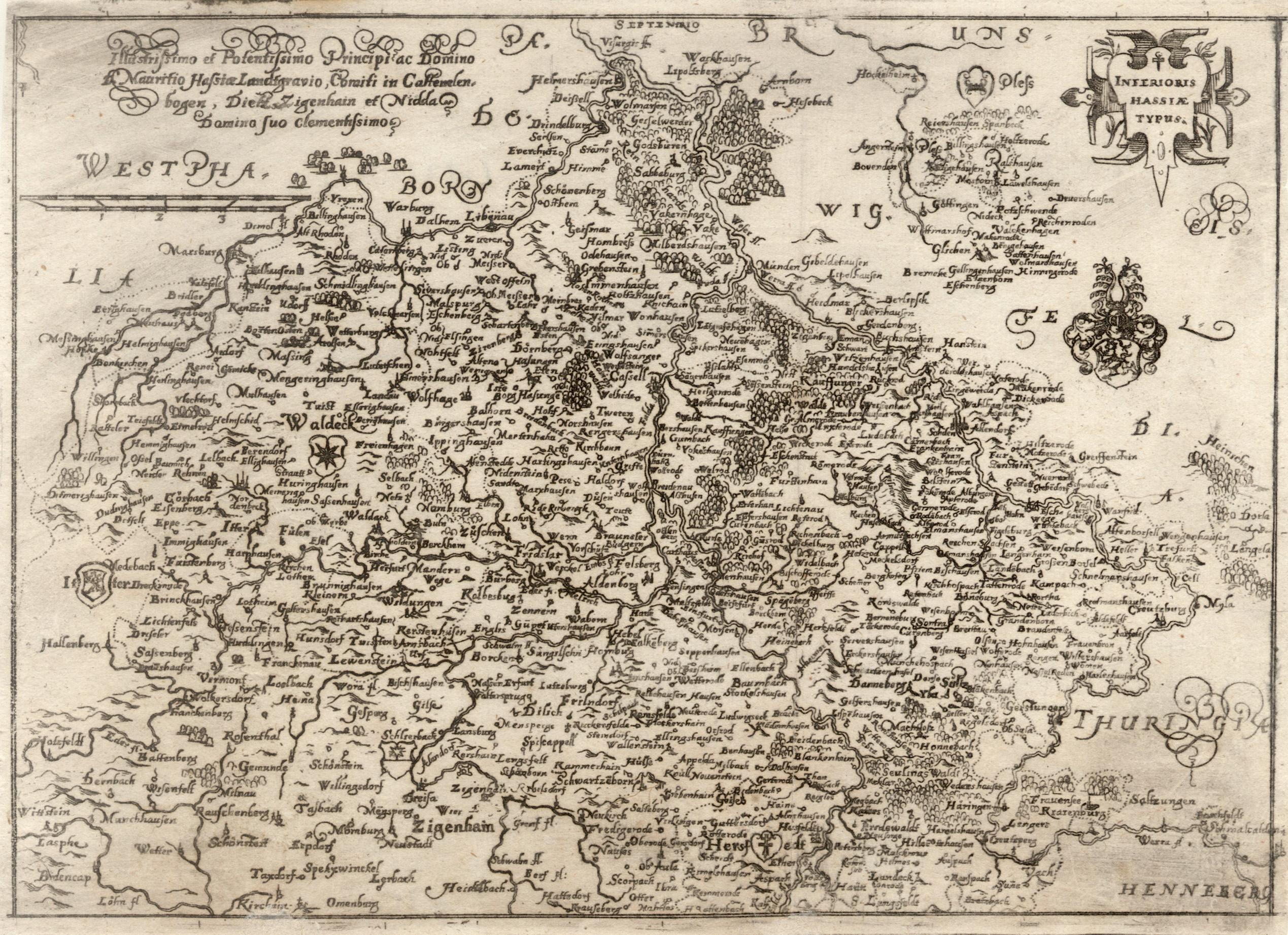 "Kst.- Karte, von Dilich, ""Inferioris Hassiae Typus"".: Nordhessen:"