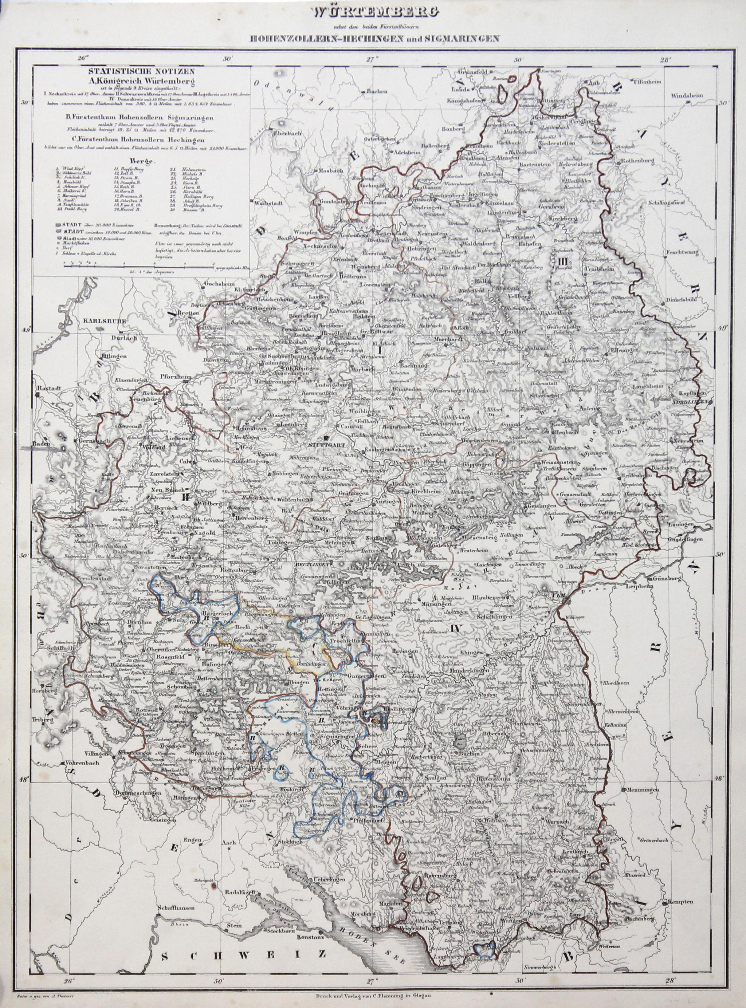 "Litho.- Karte, v. A. Theinert. ""Würtemberg nebst: Württemberg ( Herzogtum):"