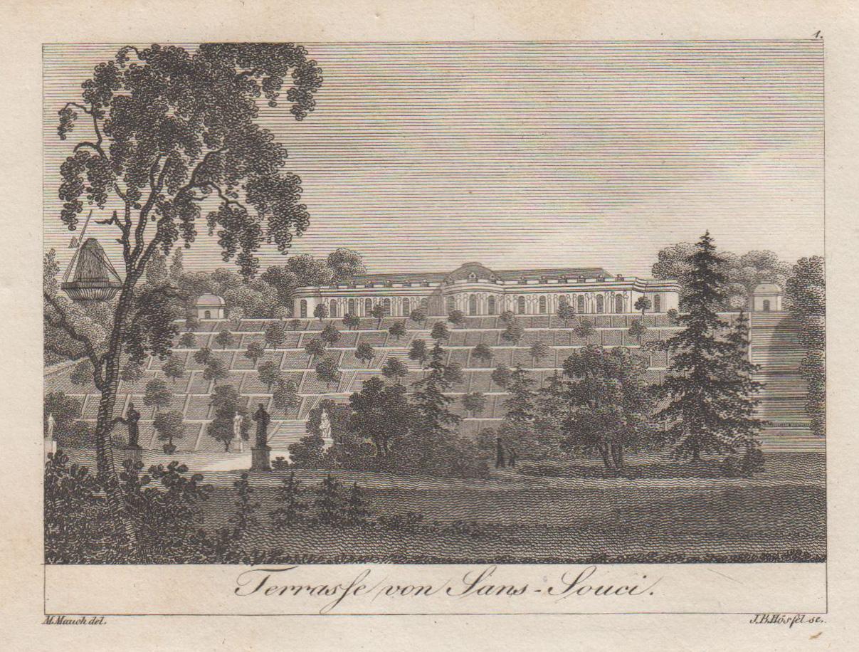 """Ansicht mit den Terrassen, """"Terrasse von Sans: Potsdam - Schloss"""