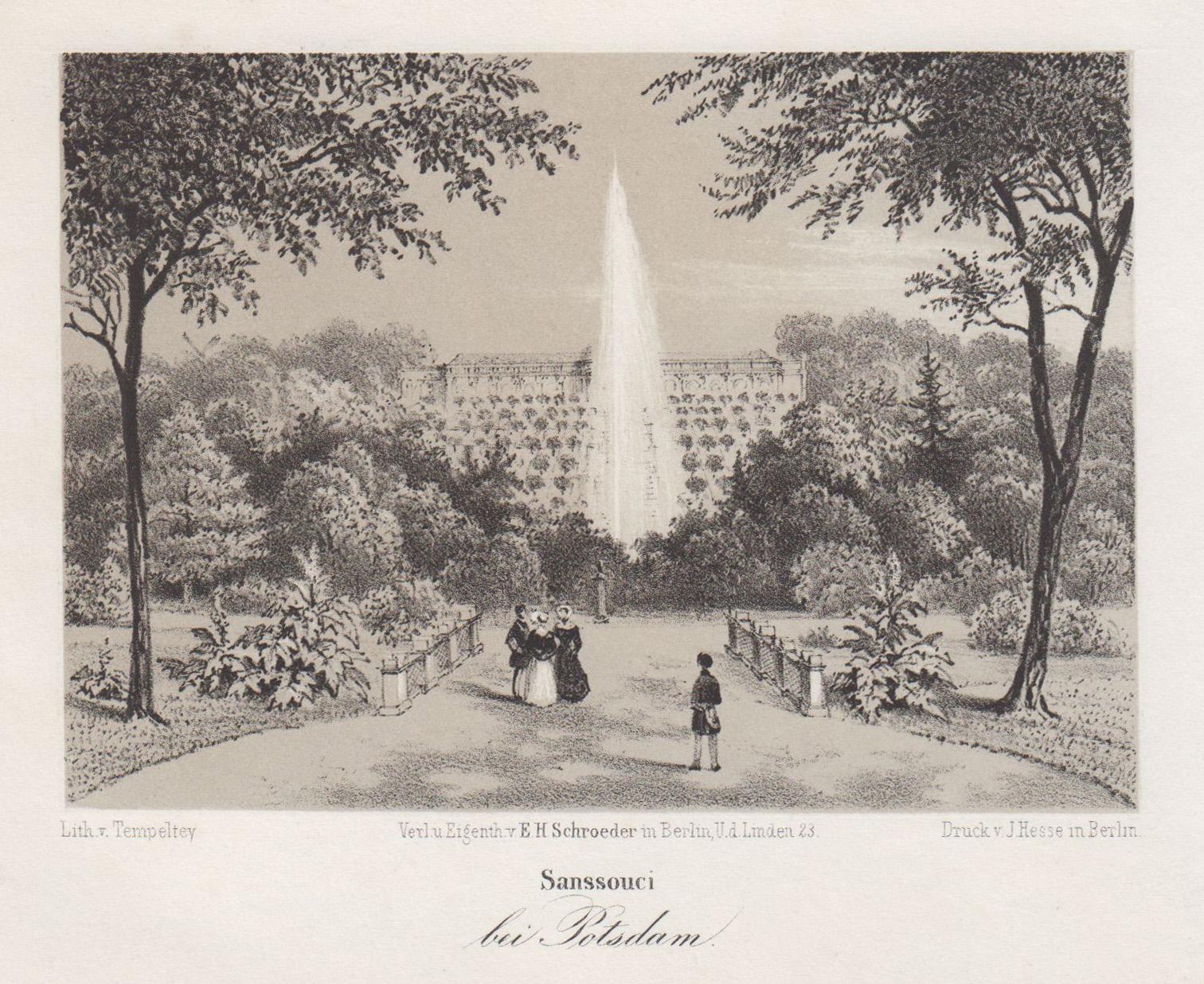 Ansicht m. d. Terrassen und der Fontaine,: Potsdam - Schloss