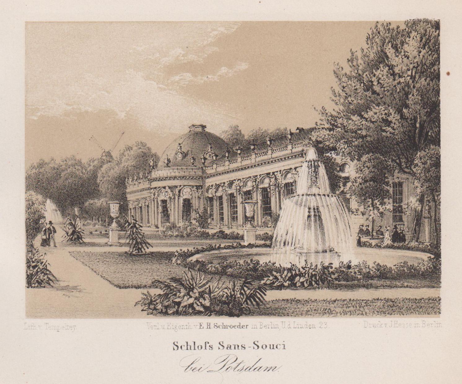 """Südseite von Osten, """"Schloß Sans-Souci bei Potsdam"""".: Potsdam - Schloss"""