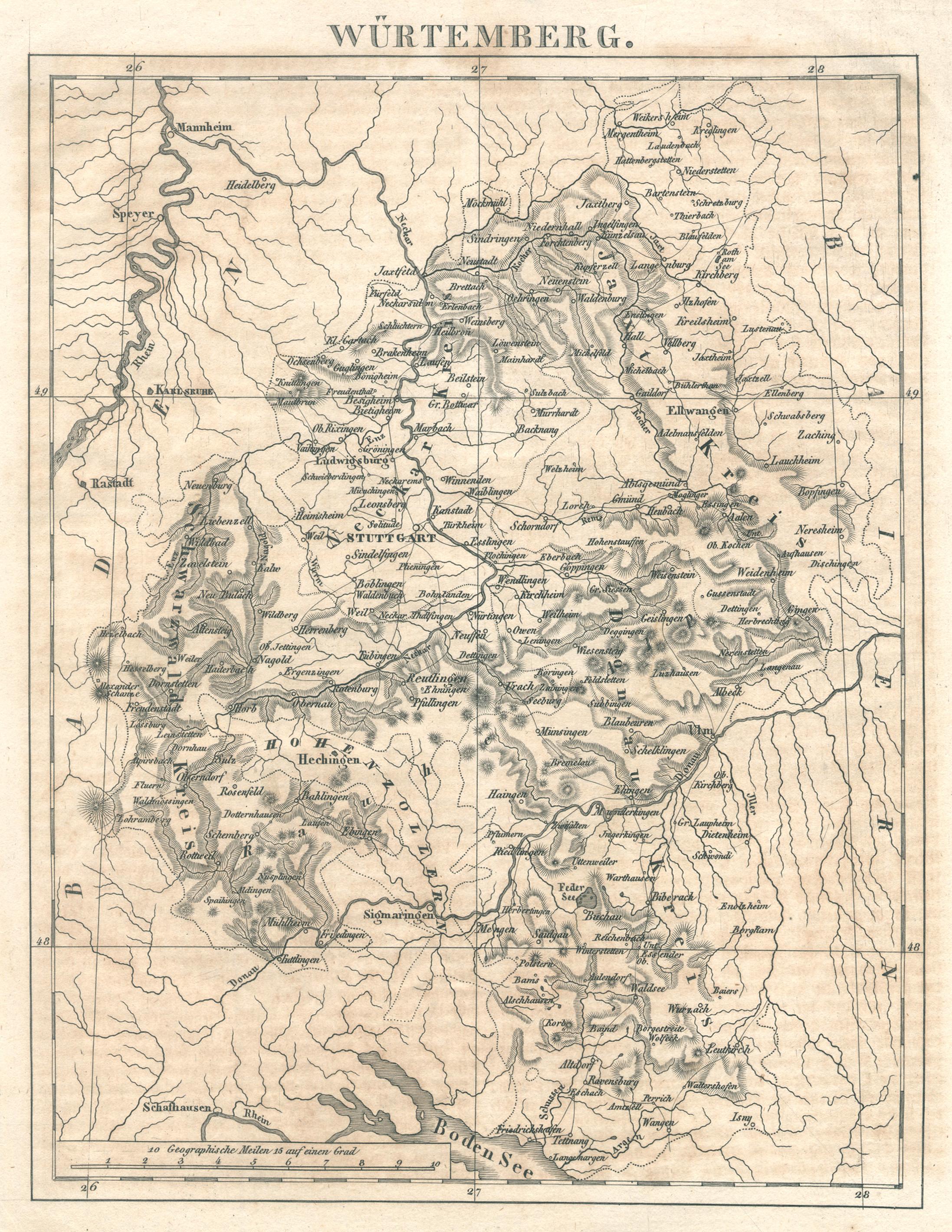 "Kst.- Karte, v. anonym, ""Würtemberg"".: Württemberg ( Herzogtum"