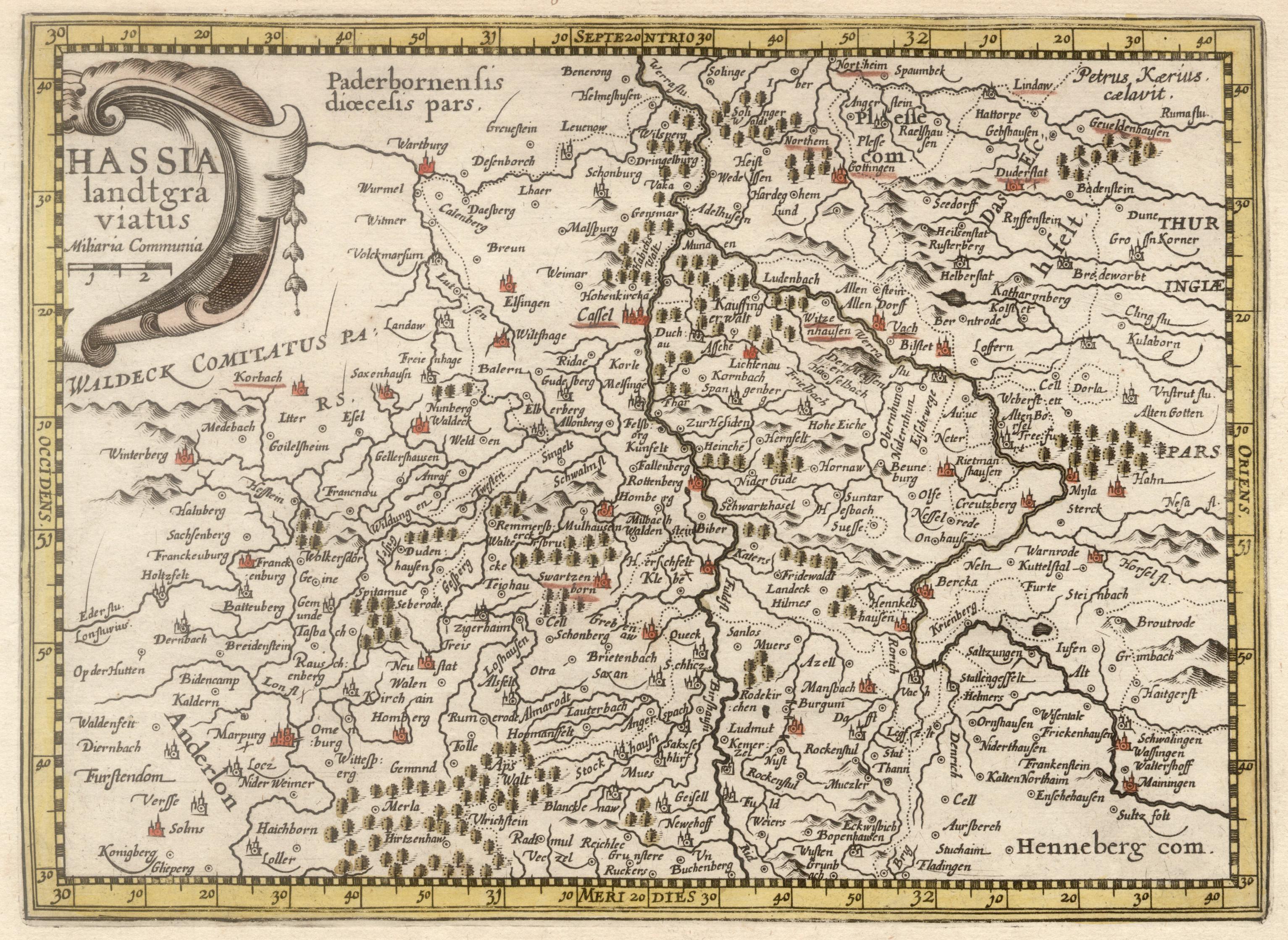 Kst.- Karte, n. P. Kaerius b. Janssonius: Nordhessen: