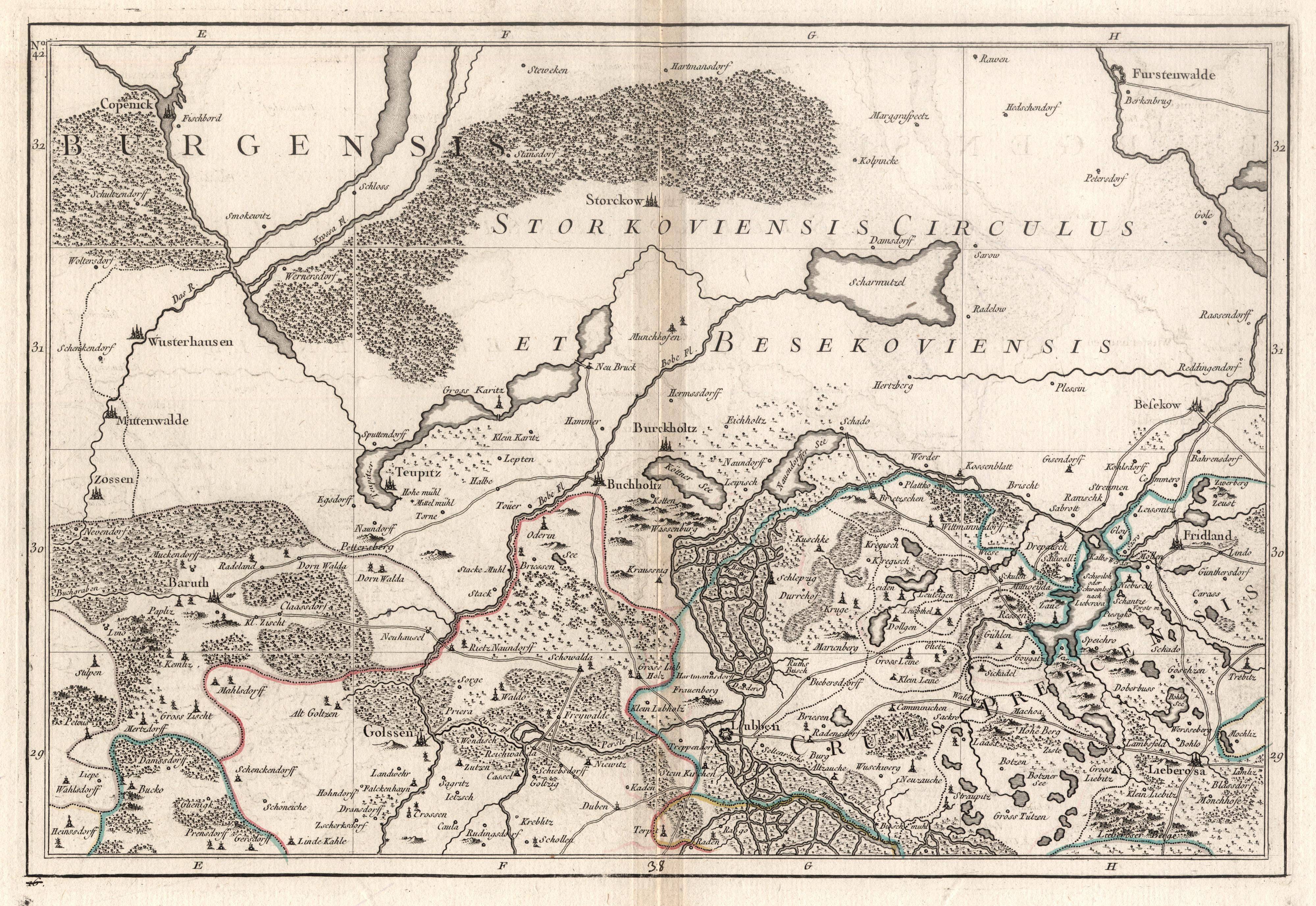 Kst.- Karte, anonym b. Julien in Paris,: Lübben - Storkow