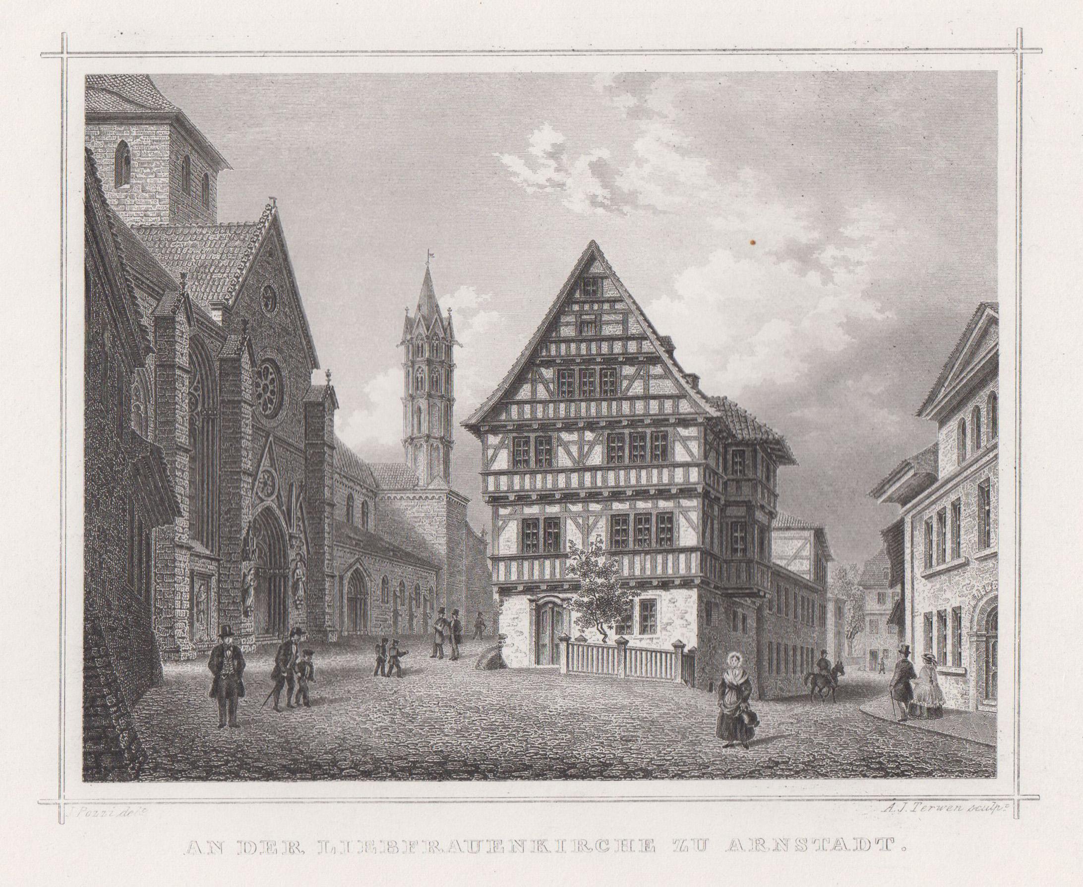 TA., Innenstadtansicht m. d. Liebfrauenkirche.: Arnstadt: