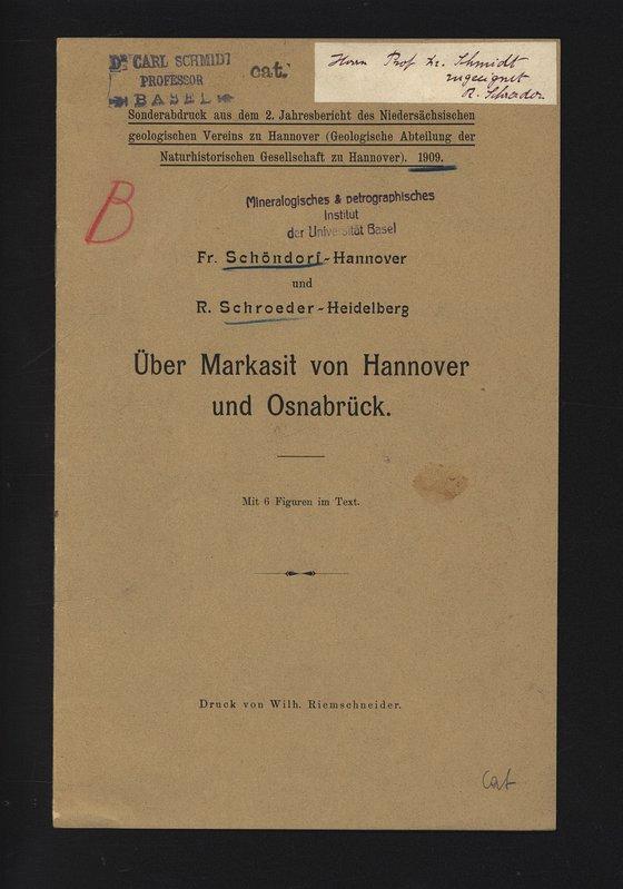 Über Markasit von Hannover und Osnabrück. Sonderabdruck: SCHÖNDORF, Fr. und