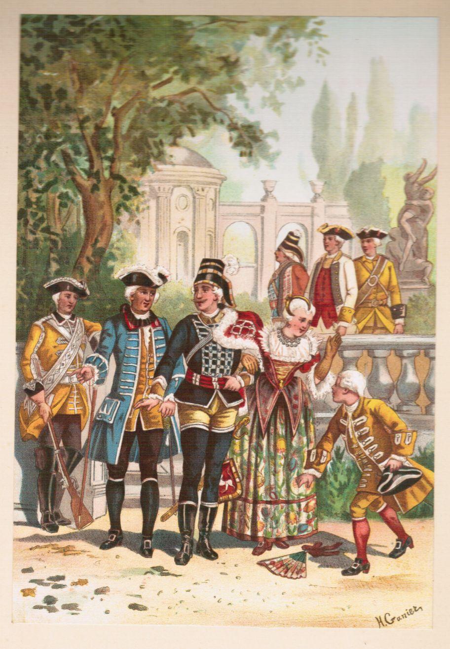 1757 - 1763. 8 Darstellungen von Soldatenuniformen: Garde du corps