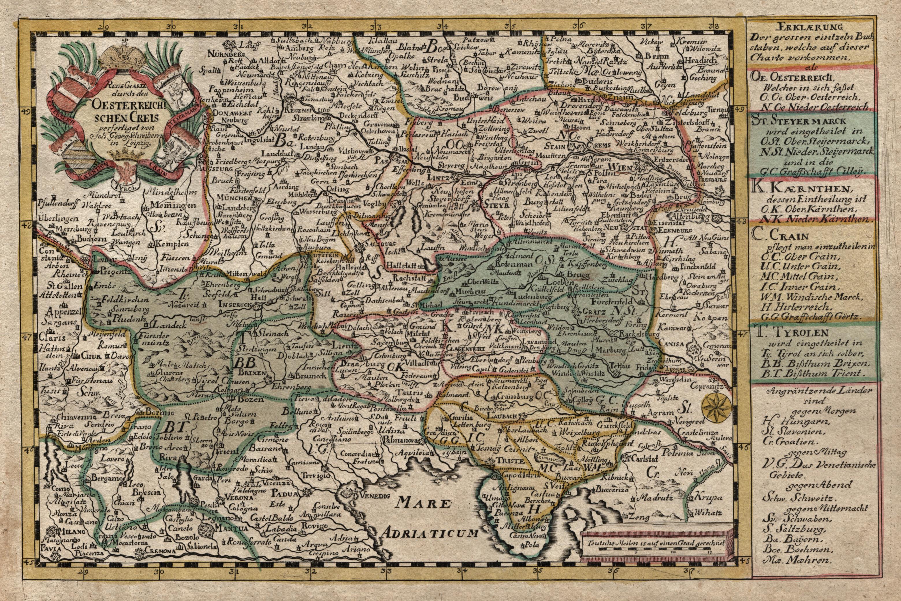 """Kst.- Karte, b. J. G. Schreiber, """"Reise: Österreichischer Kreis:"""