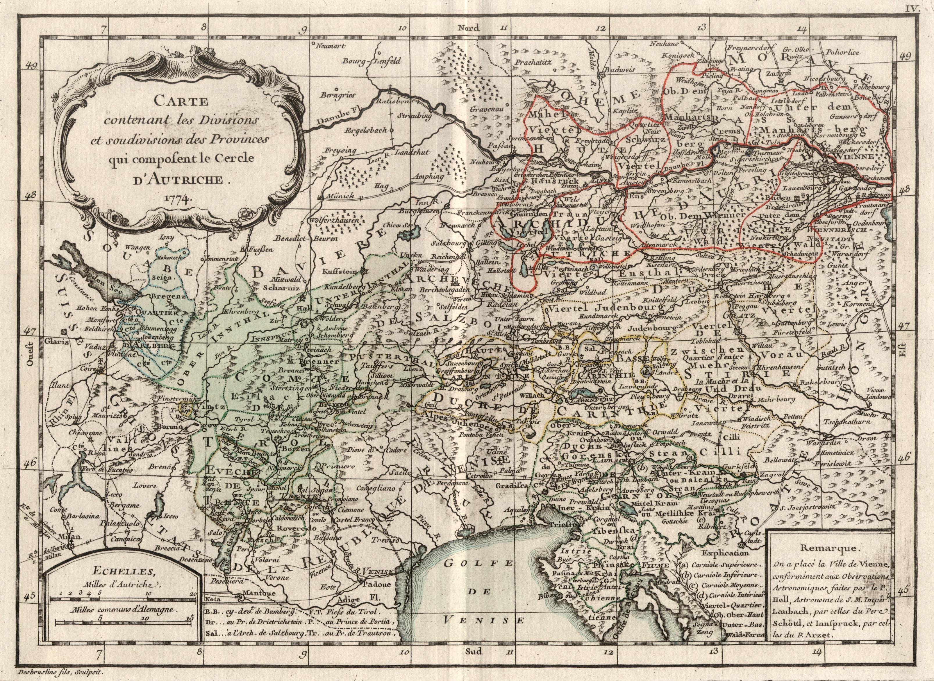 """Kst.- Karte, von Desbruslins fils, """"Carte contenant: Österreichischer Kreis:"""