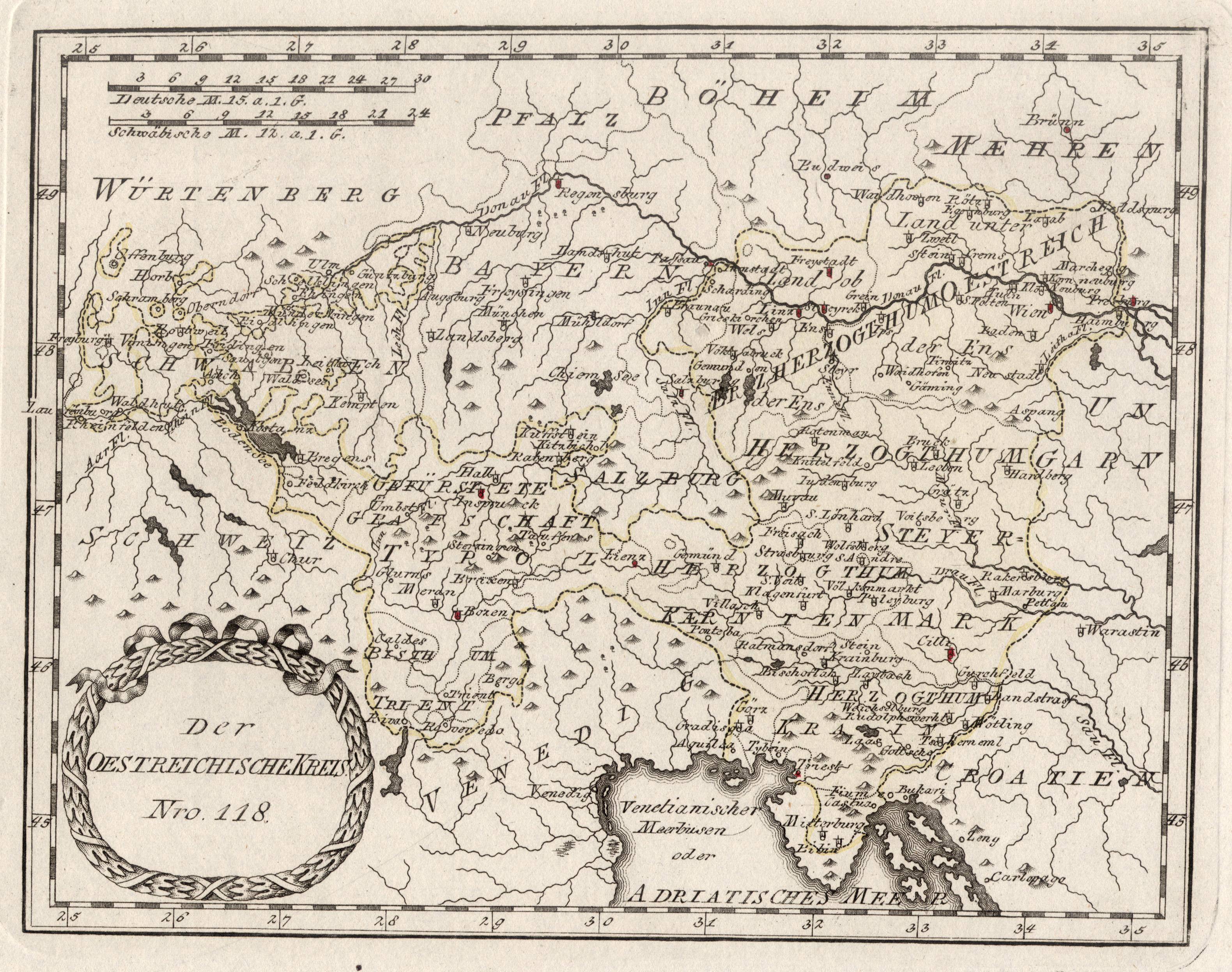 """Kst.- Karte, b. Reilly, """"Der Oestreichische Kreis"""".: Österreichischer Kreis:"""