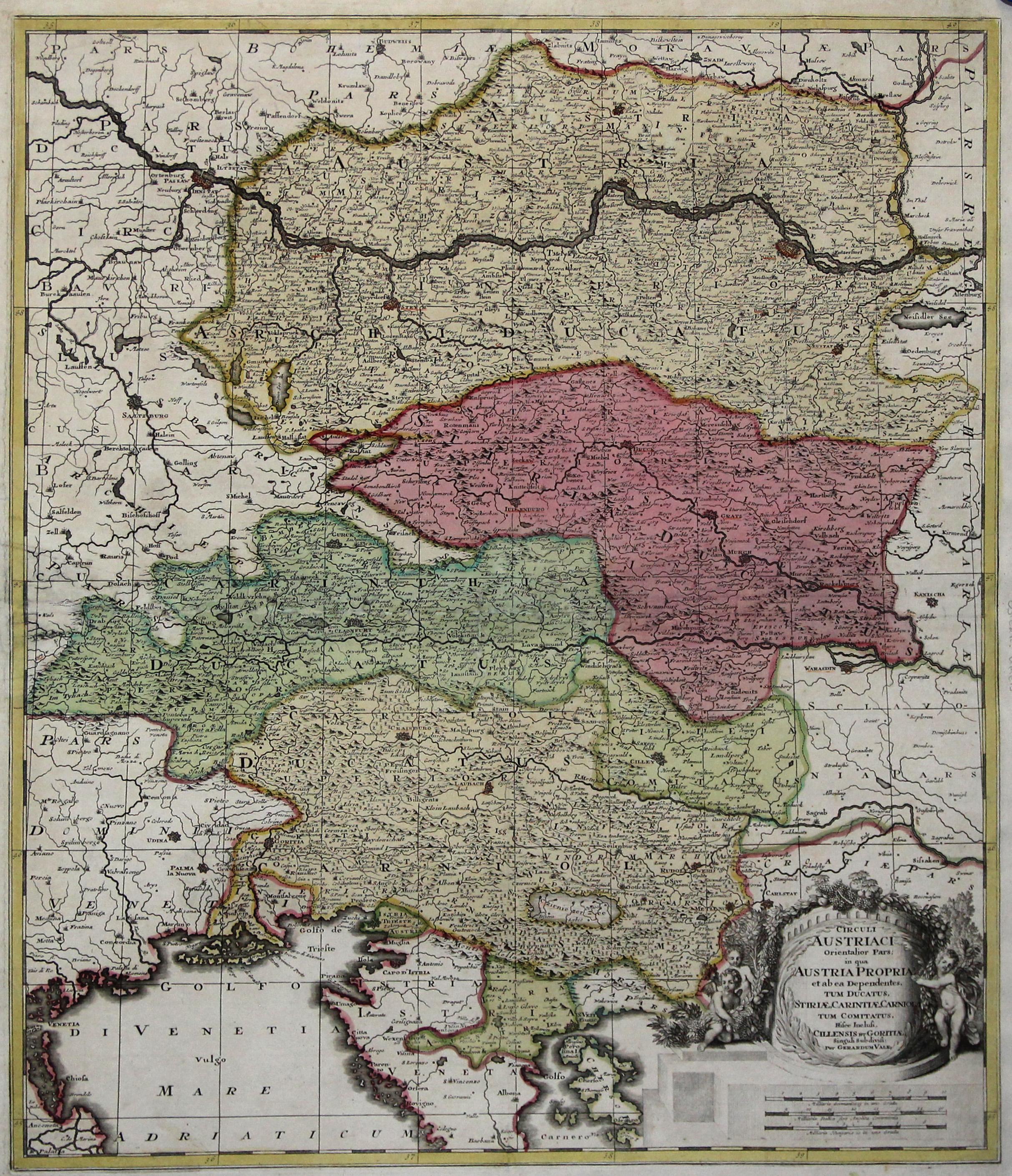 """Kst.- Karte, b. Gerh. Valk, """"Circuli Austriaci: Österreichischer Kreis:"""
