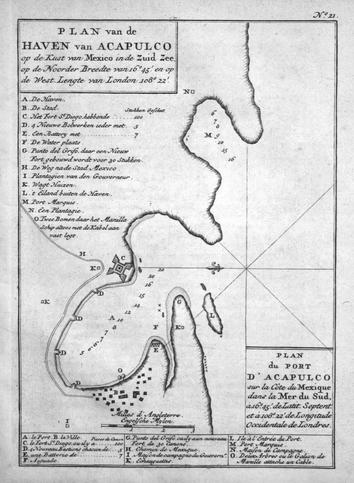 """Plan van de Haven van Acapulco"""" -: Anson, George:"""