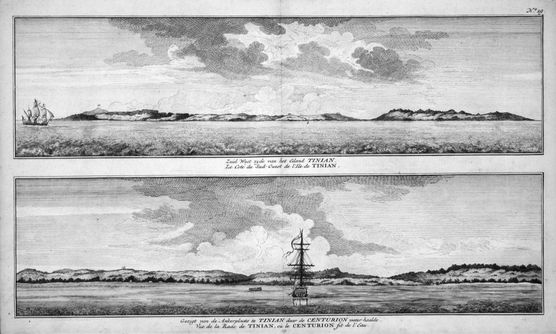 "Zuid West zyde van het Eiland Tinian"": Anson, George:"