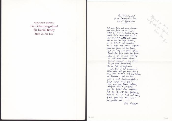 Ein Geburtstagsrätsel für Daniel Brody zum 25.XII.1935: Broch, Hermann