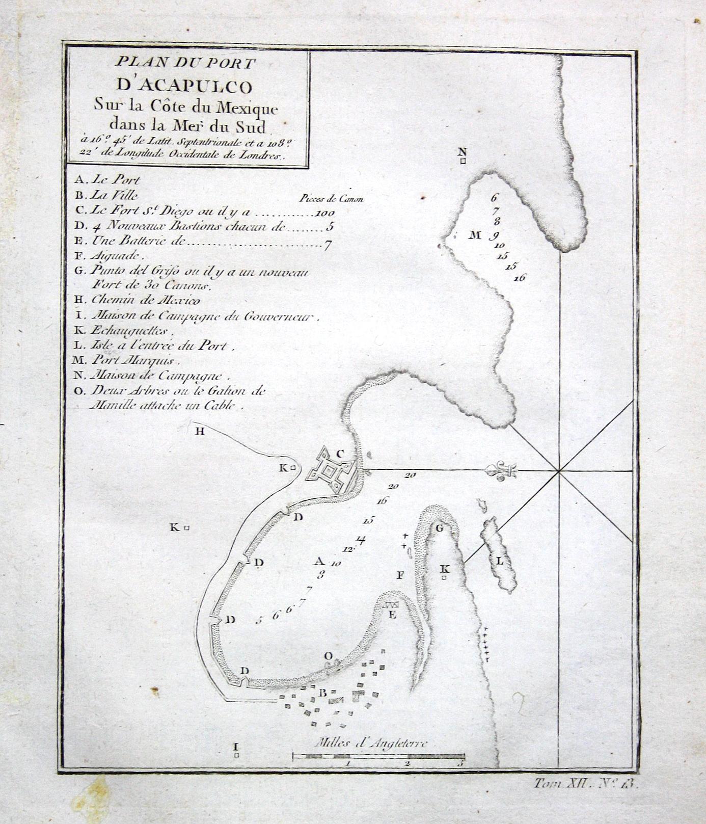 Plan du port d'Acapulco sur la cote: Bellin, Jacques-Nicolas: