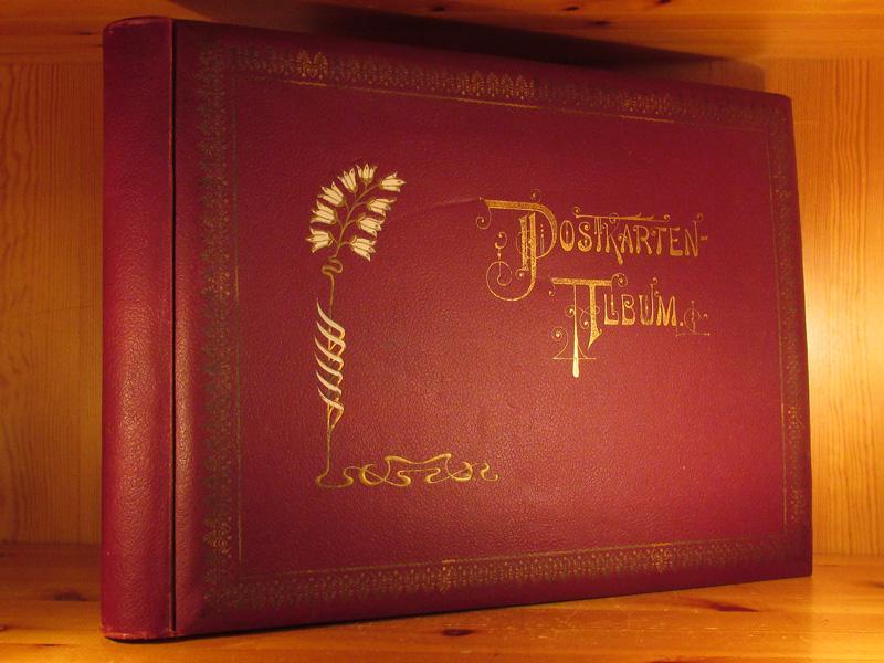 Original-Postkarten-Album (Postkartenalbum), Jugendstil, Querformat 30 x 43