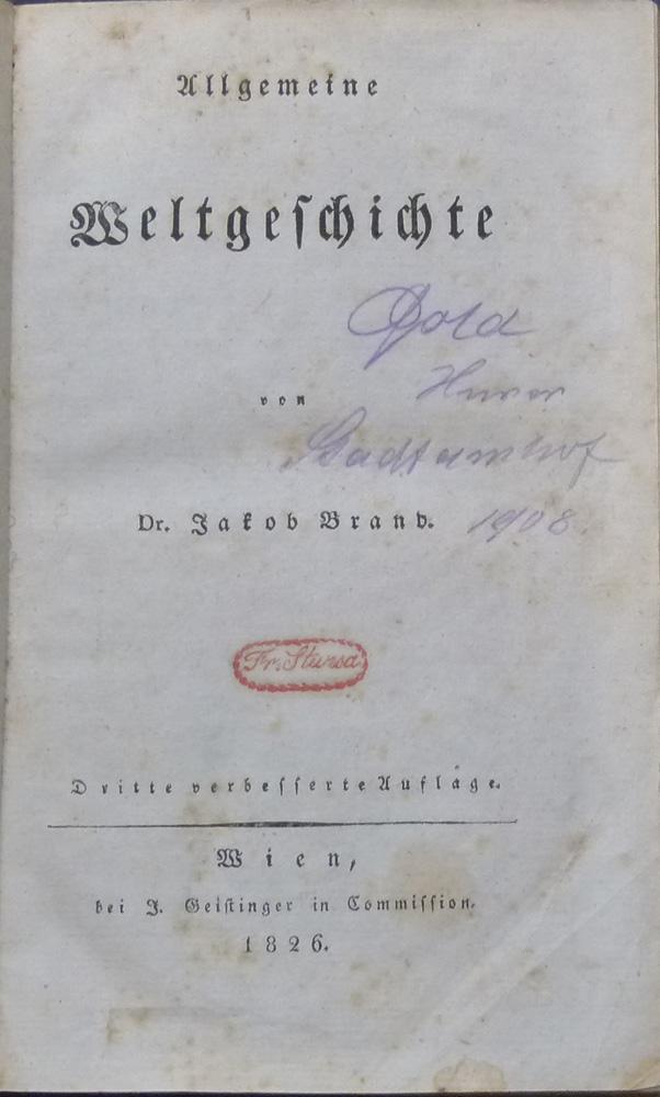 Allgemeine Weltgeschichte.: Brand, Jakob.