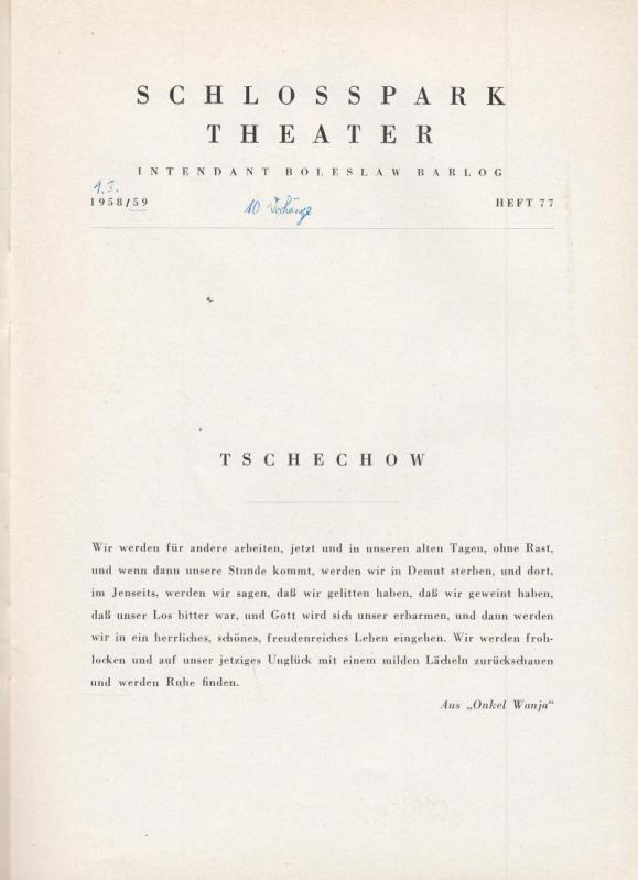 Onkel Wanja. Spielzeit 1958 / 1959, Heft: Berlin Schloßparktheater. -