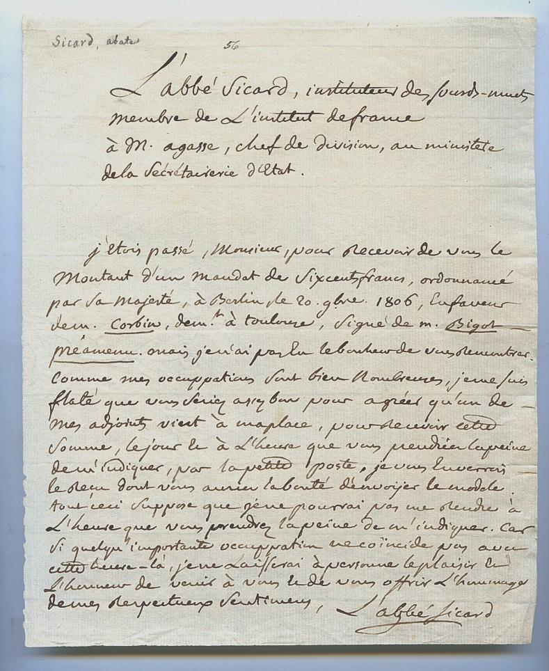 "Eigenh. Brief mit U. ( L abbé Sicard"").: Sicard, Roch-Ambroise Cucurron"
