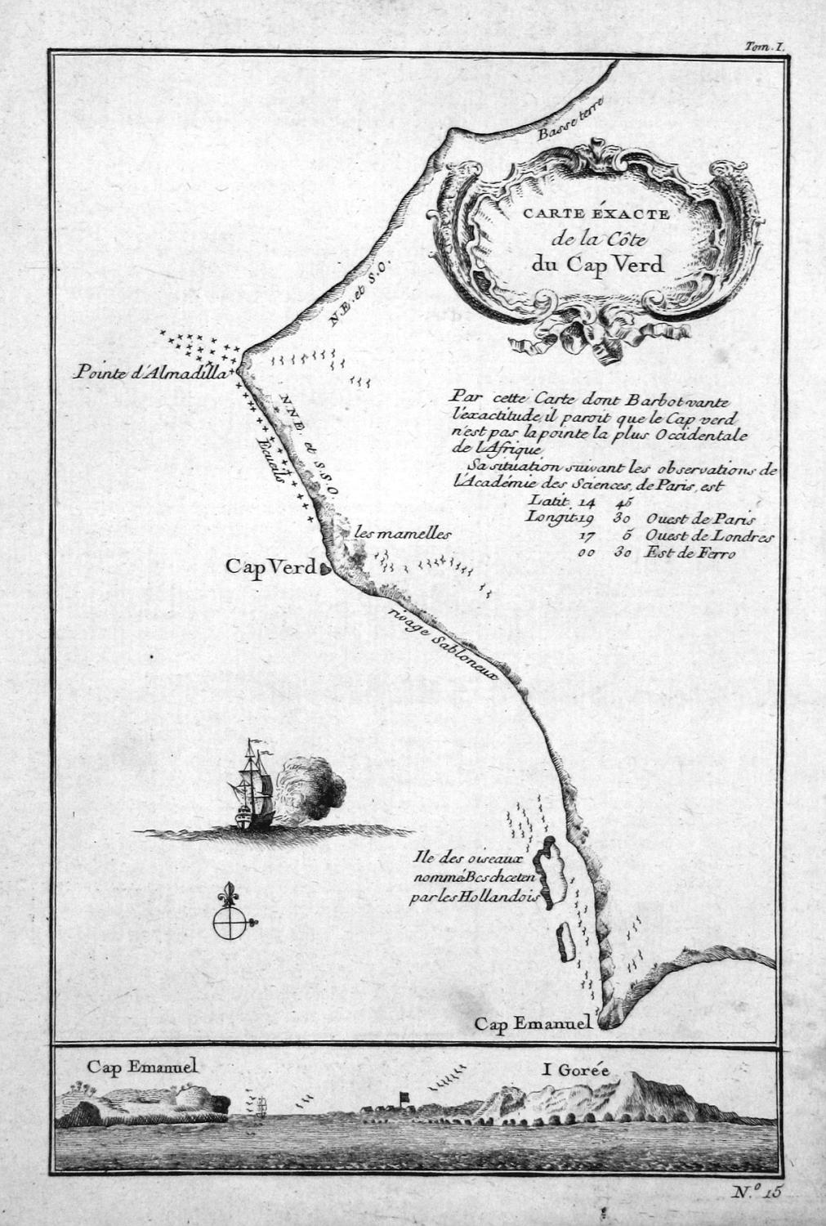 Carte exacte de la Cote du Cap: Bellin, Jacques-Nicolas: