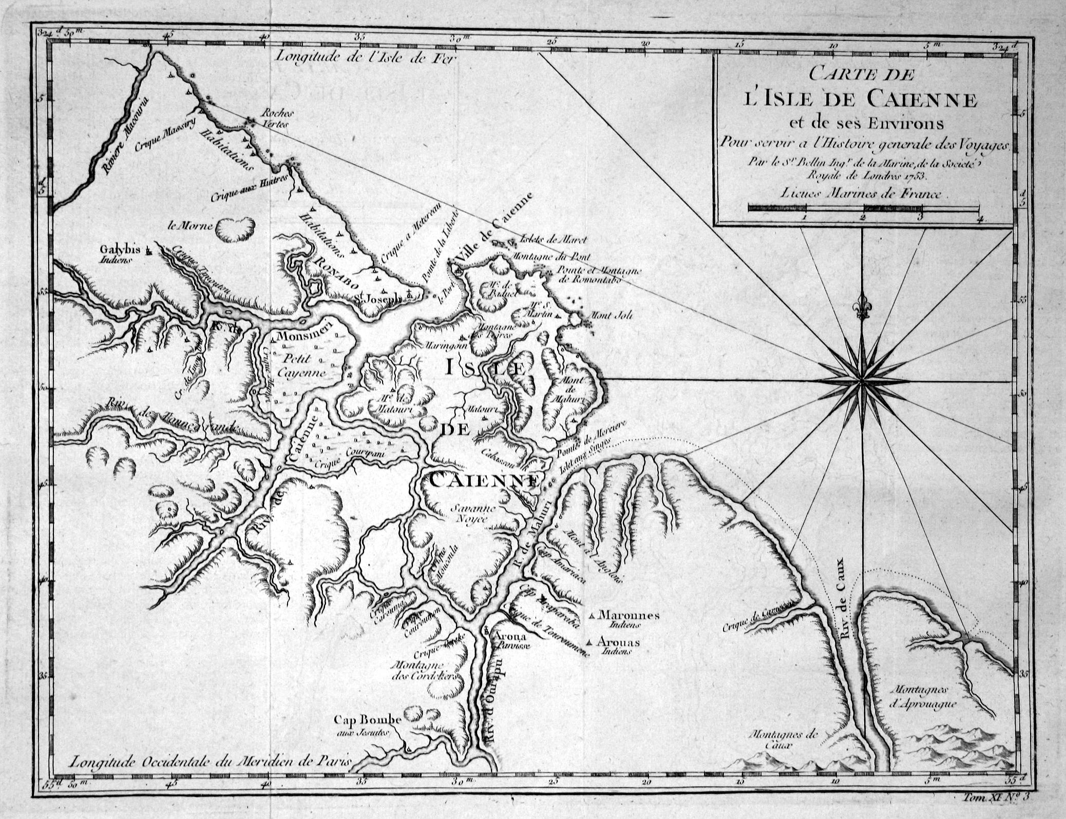 """Carte de l'Isle de Caienne"""" - Ile: Bellin, Jacques-Nicolas:"""