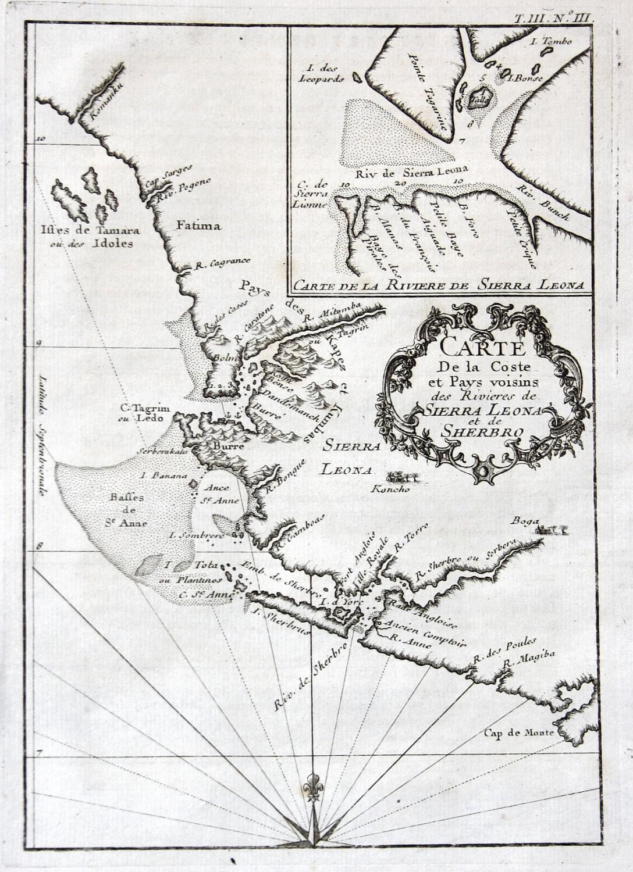 Carte de la Coste et Pays voisins: Bellin, Jacques-Nicolas:
