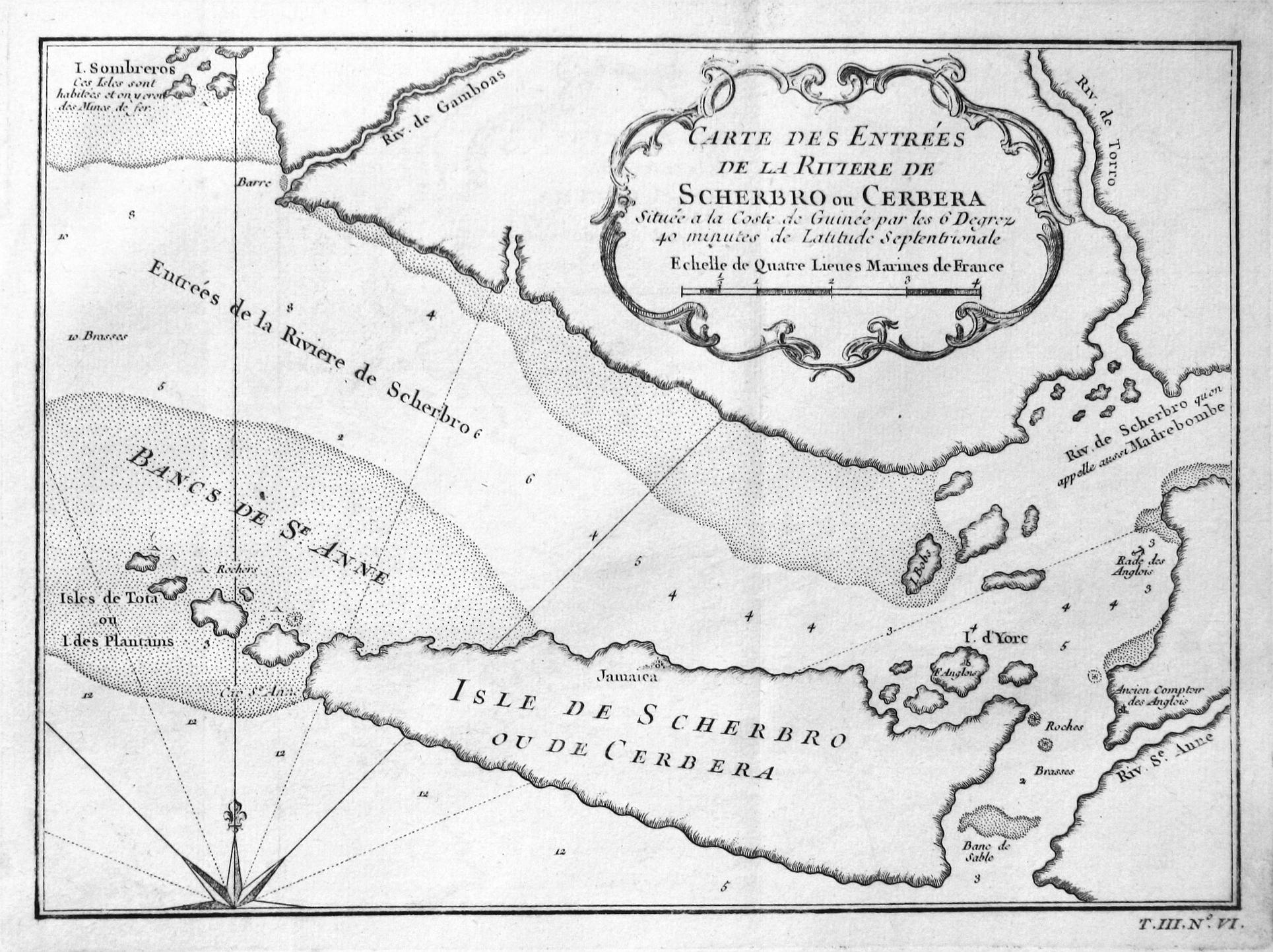 Carte des Entrees de la Riviere de: Bellin, Jacques-Nicolas: