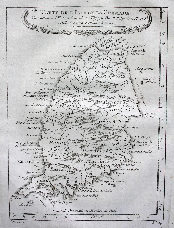 """Carte de l'Isle de Grenade"""" - Grenada: Bellin, Jacques-Nicolas:"""